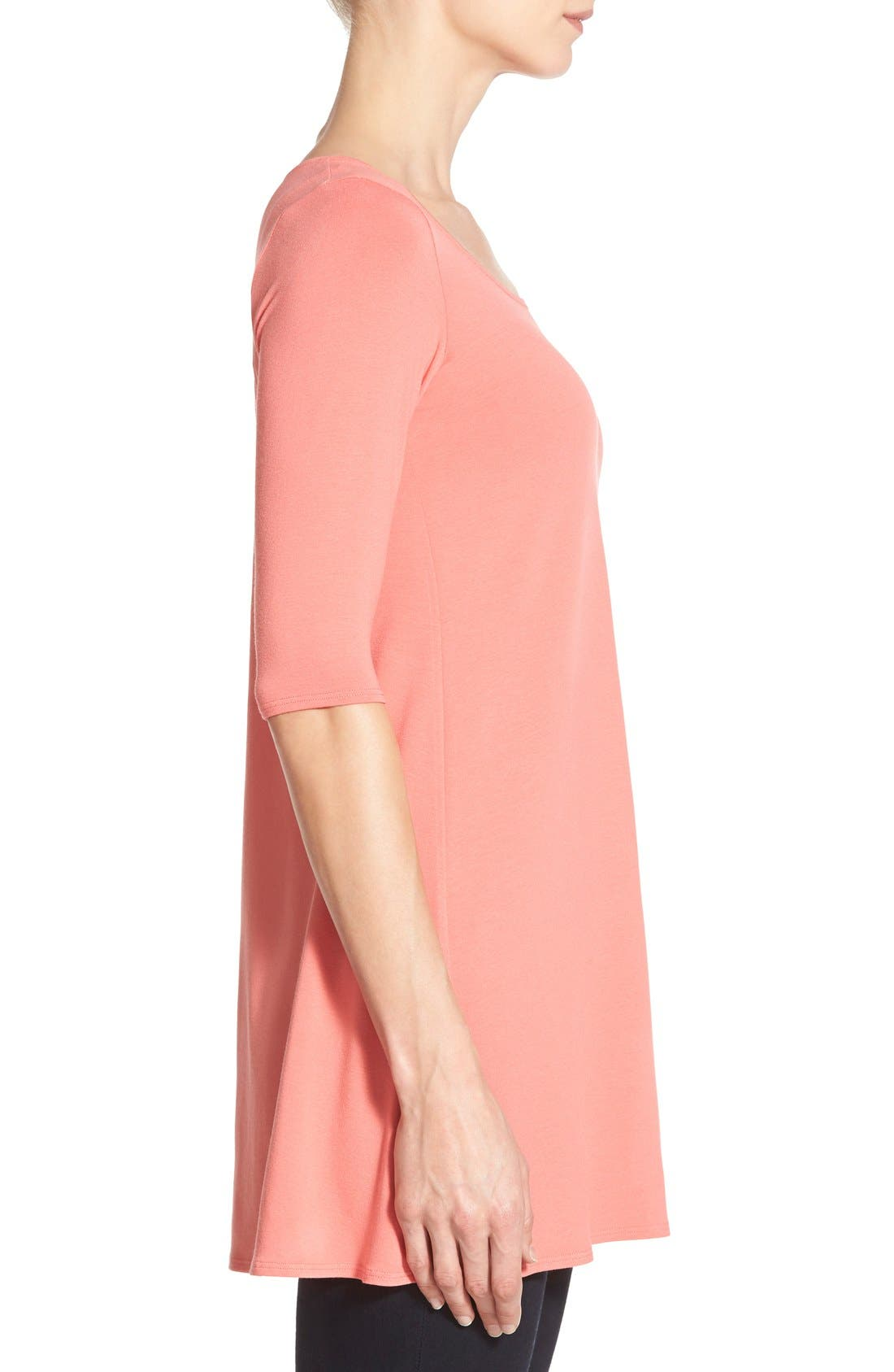 Scoop Neck Elbow Sleeve Jersey Tunic,                             Alternate thumbnail 32, color,