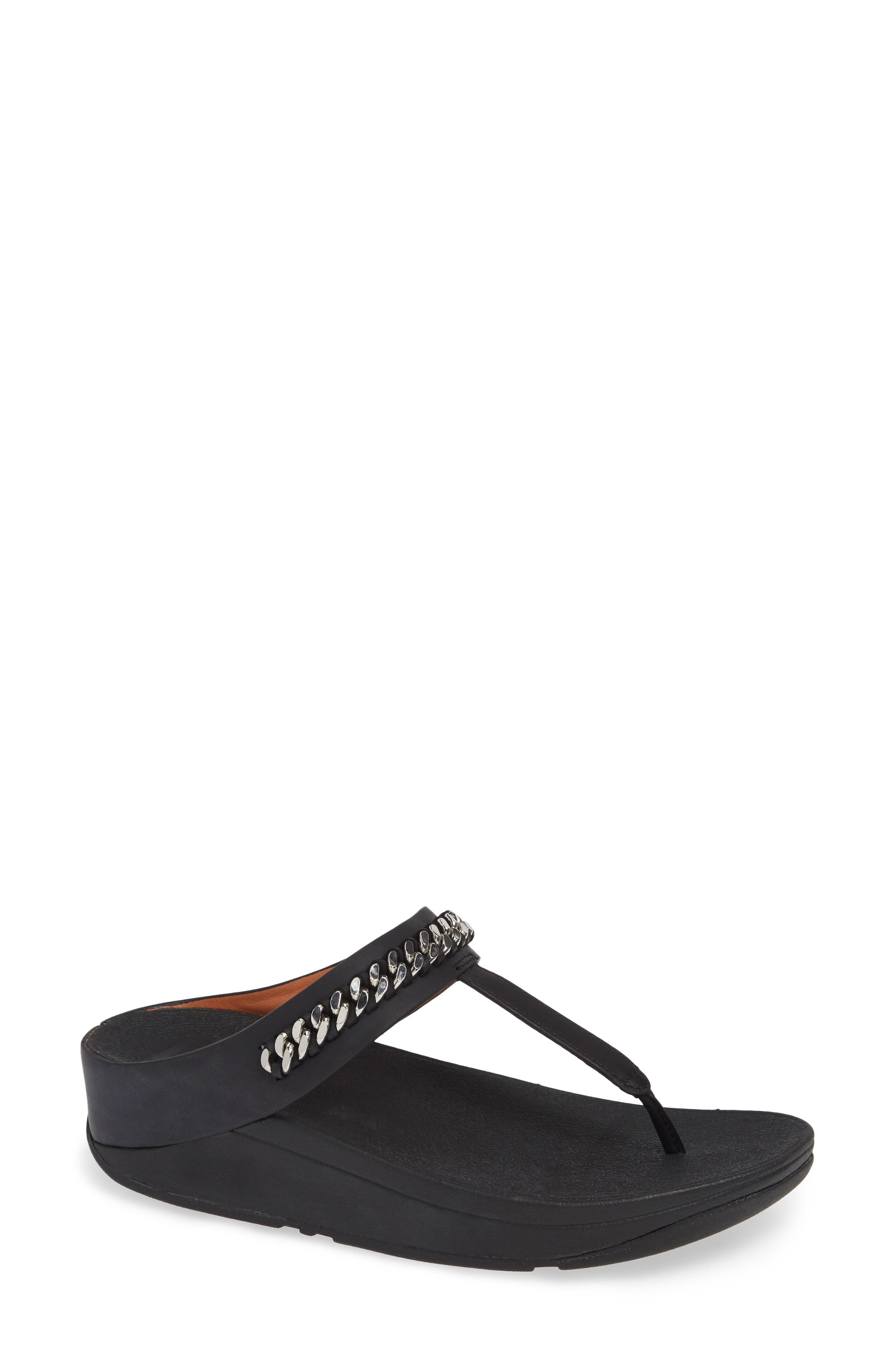 FITFLOP Fino Flip Flop in Black Leather