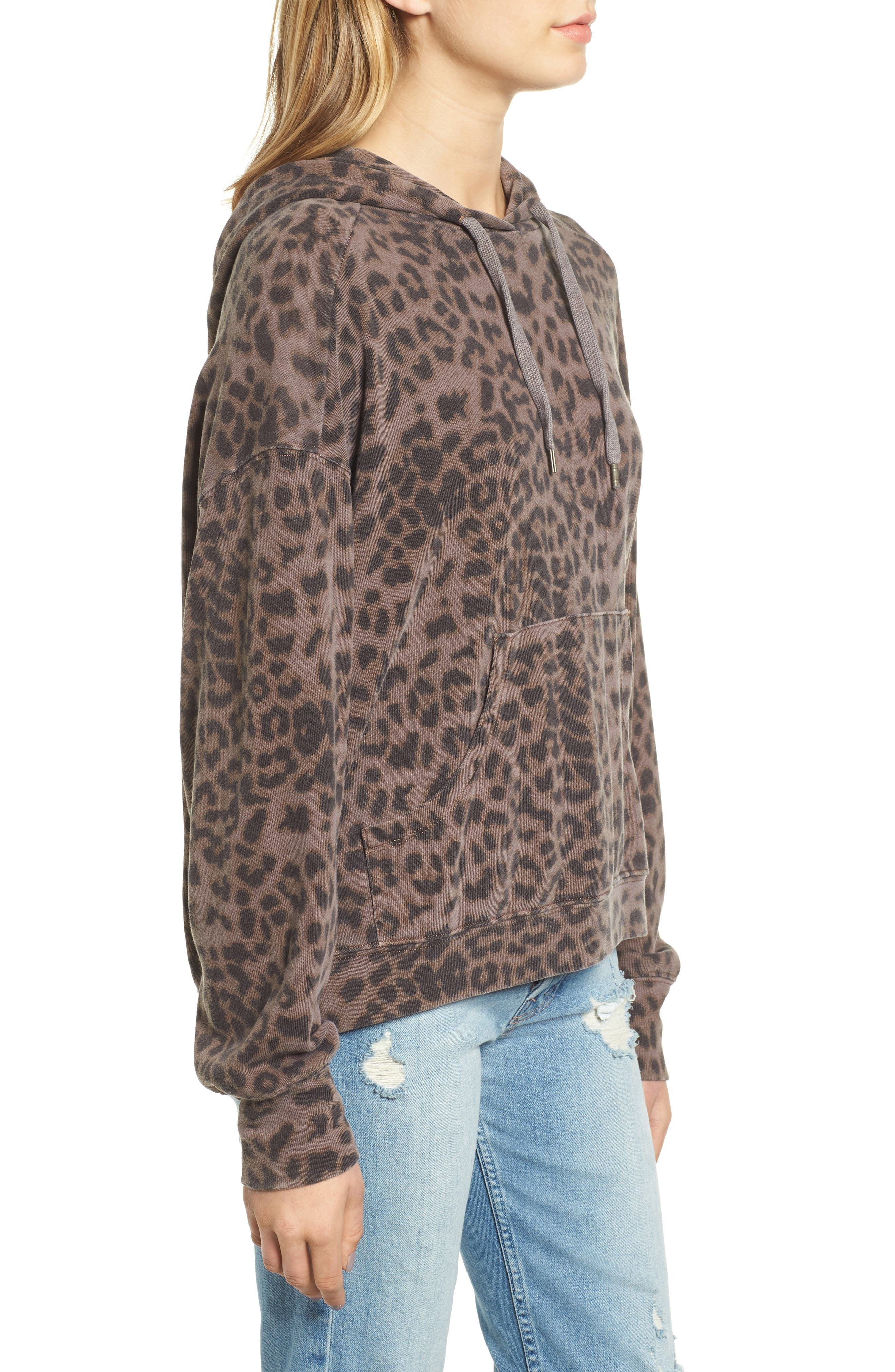 Leopard Spot Crop Hoodie,                             Alternate thumbnail 3, color,                             200