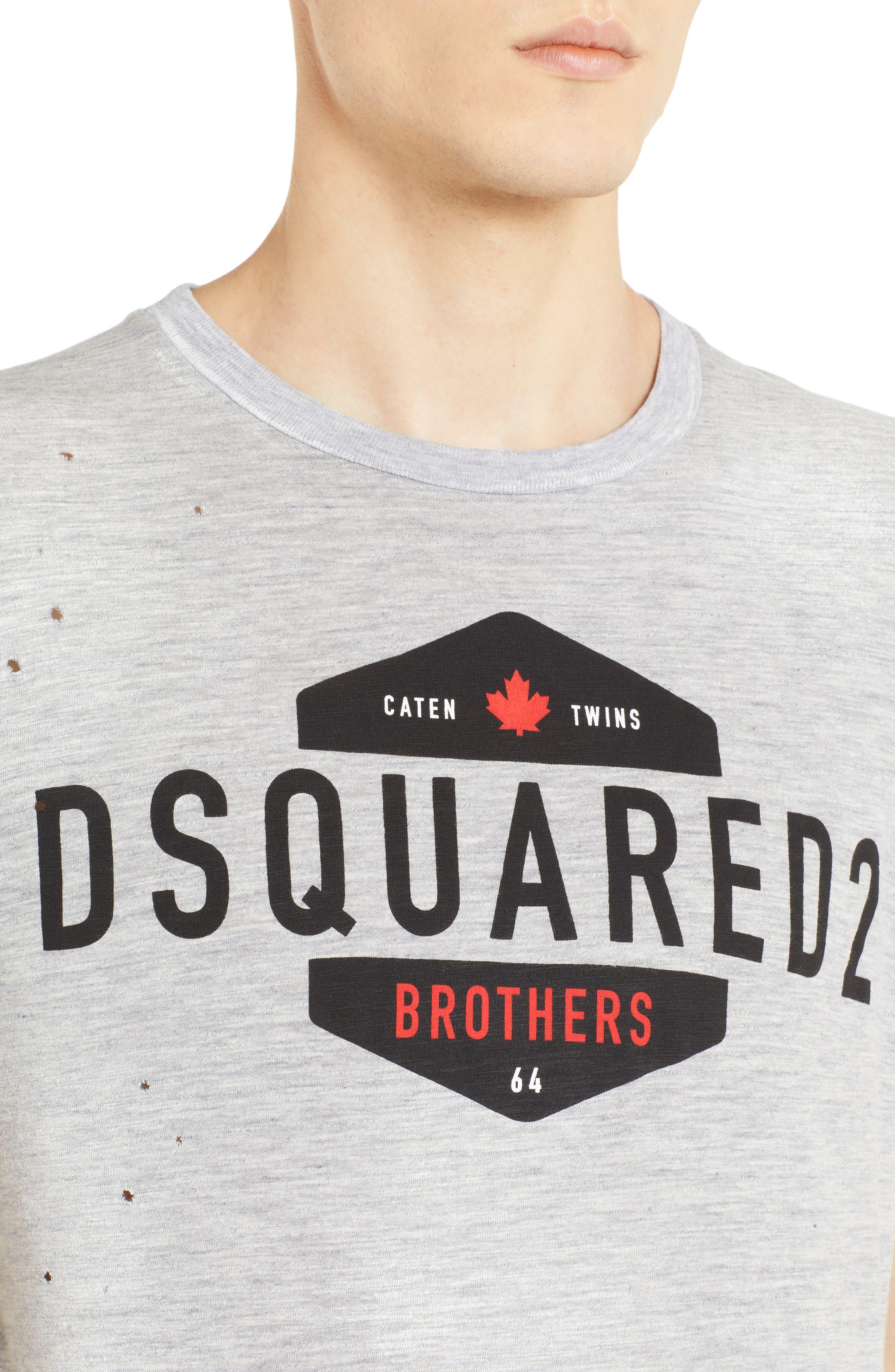 Longline Logo Graphic T-Shirt,                             Alternate thumbnail 4, color,                             GREY