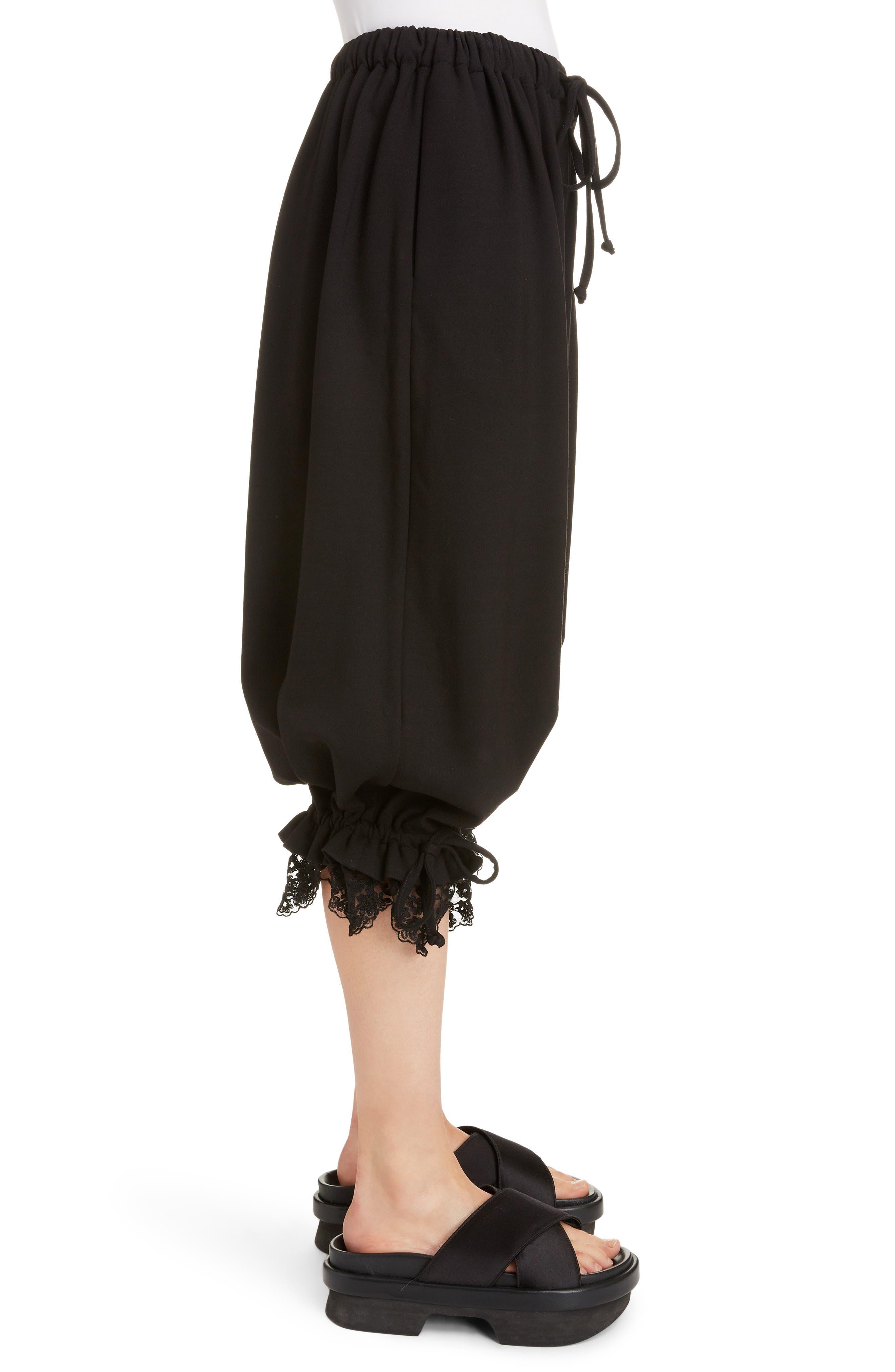 Lace Trim Culottes,                             Alternate thumbnail 3, color,                             BLACK