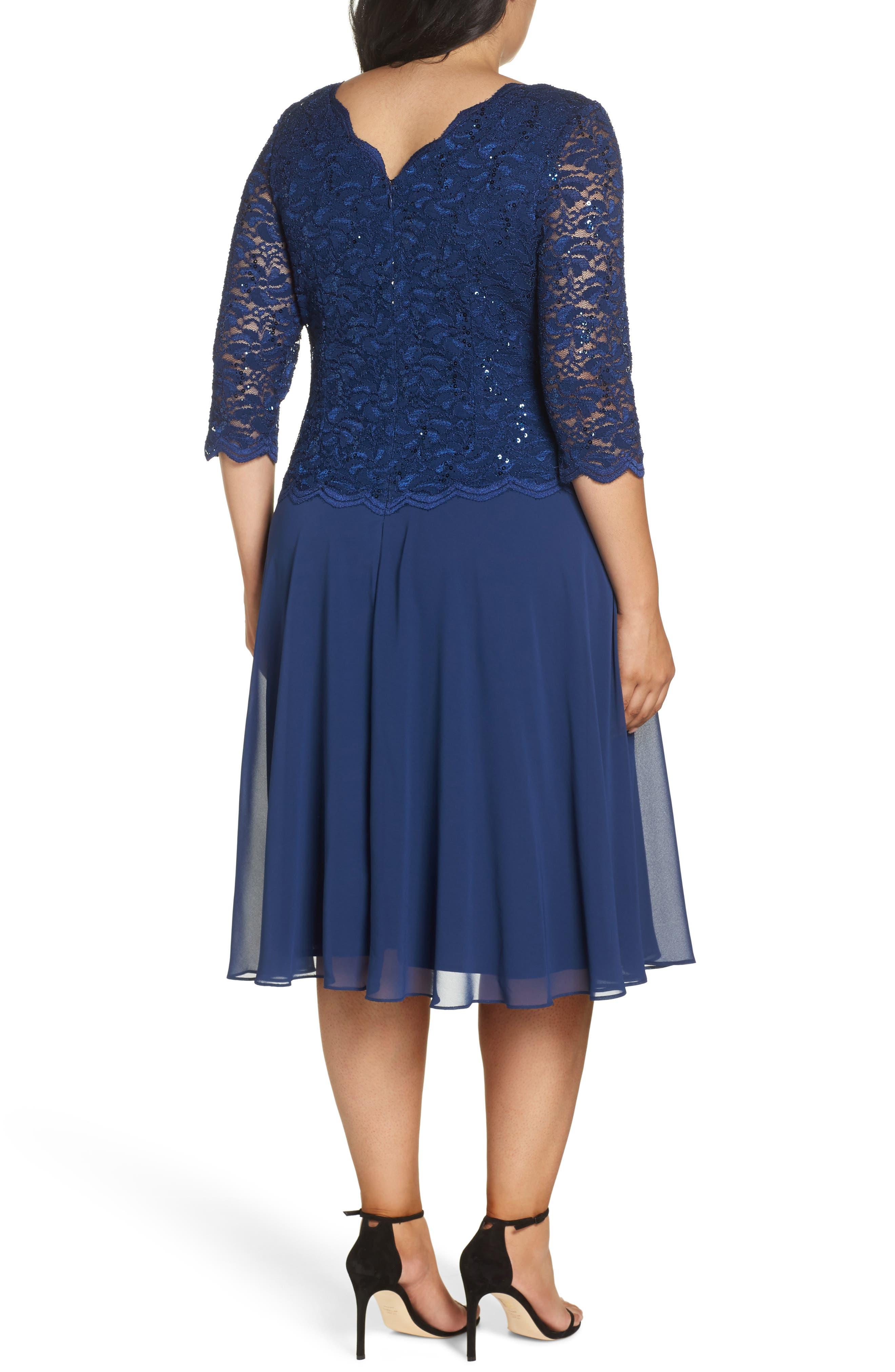 Mock Two-Piece Tea Length Dress,                             Alternate thumbnail 2, color,                             COBALT
