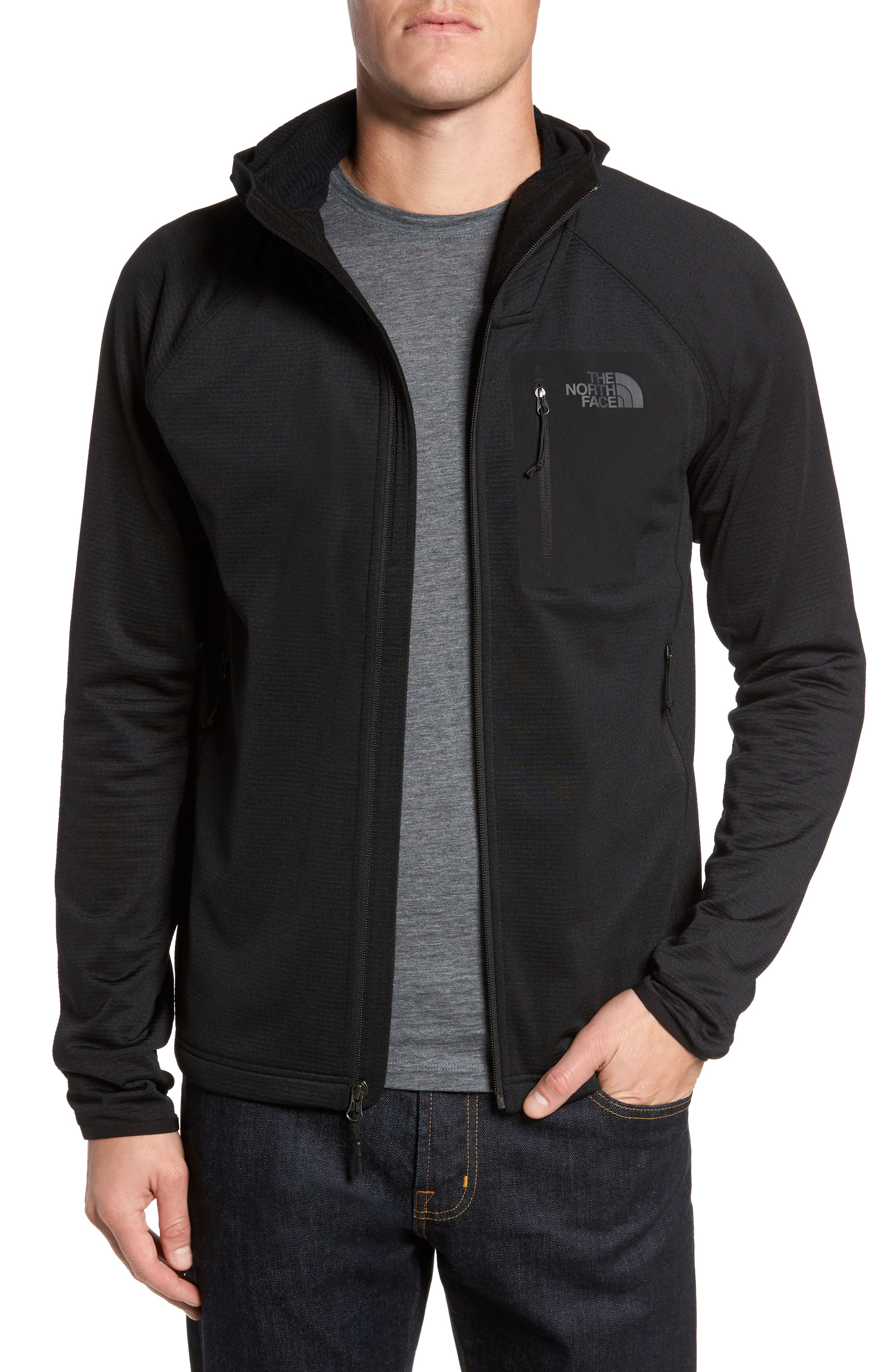 Borod Zip Fleece Jacket,                             Main thumbnail 1, color,                             BLACK/ BLACK