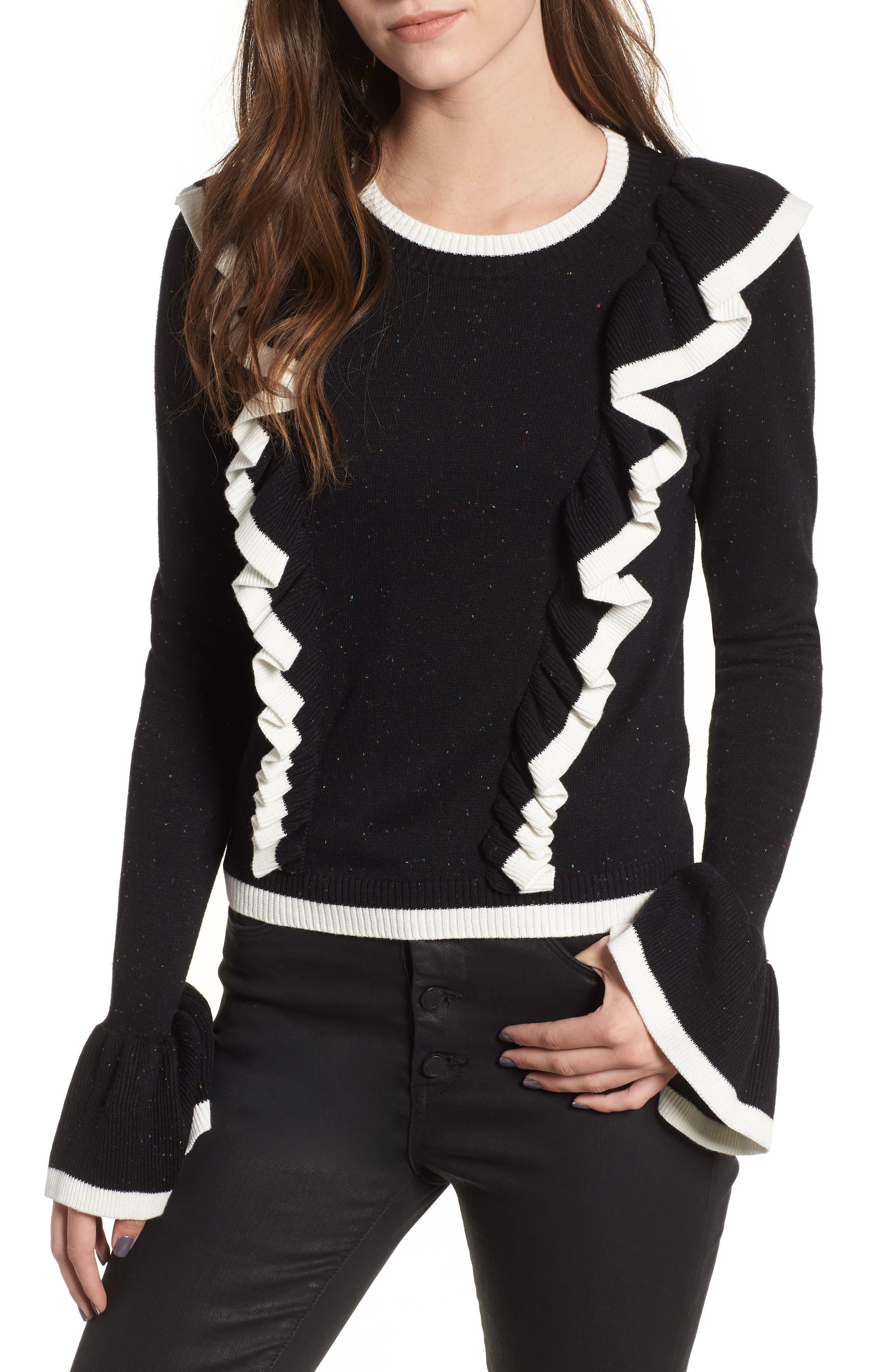Transcript Ruffle Sweater,                         Main,                         color, BLACK