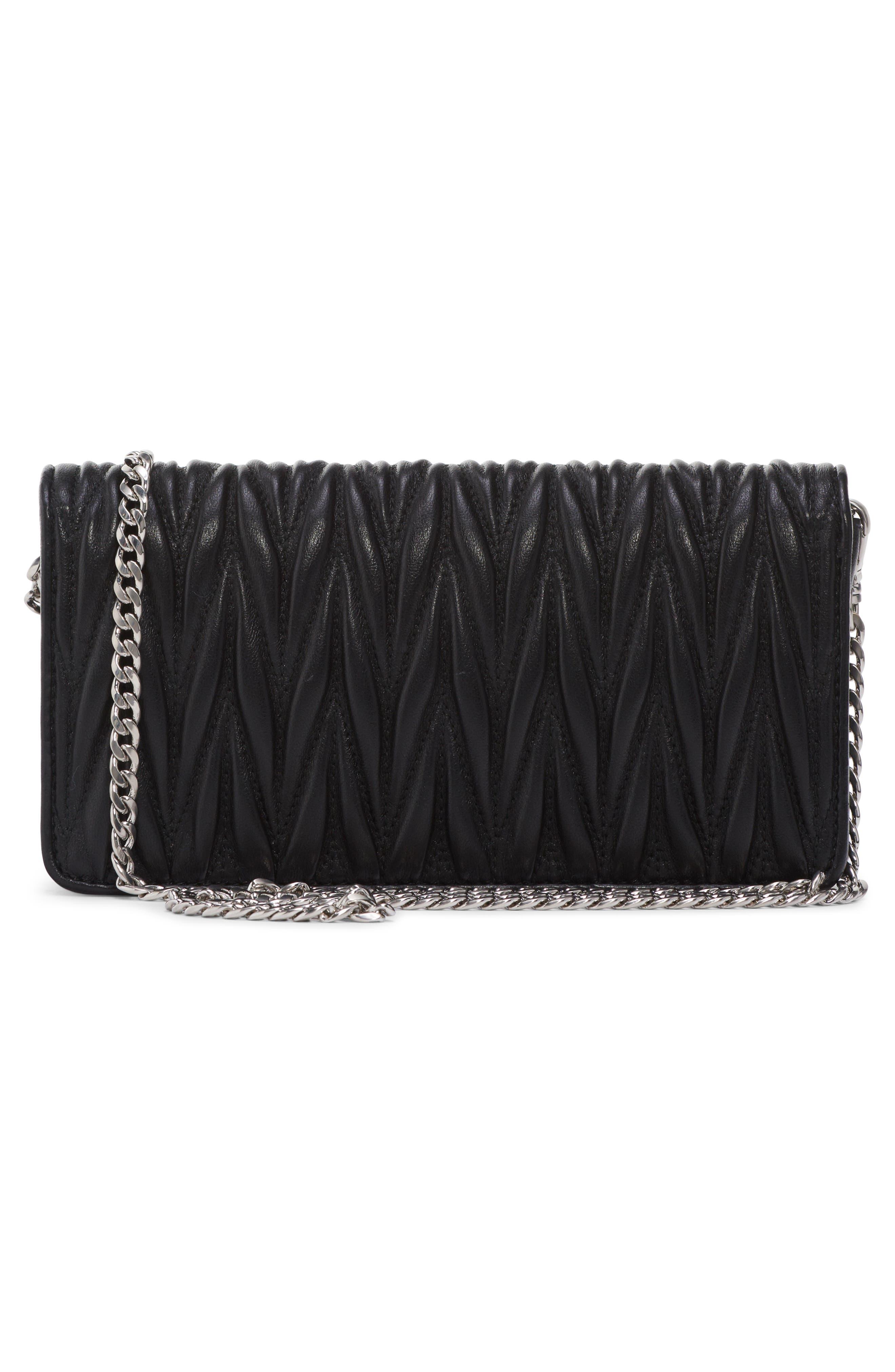 Matelassé Leather Wallet on a Chain,                             Alternate thumbnail 2, color,                             NERO
