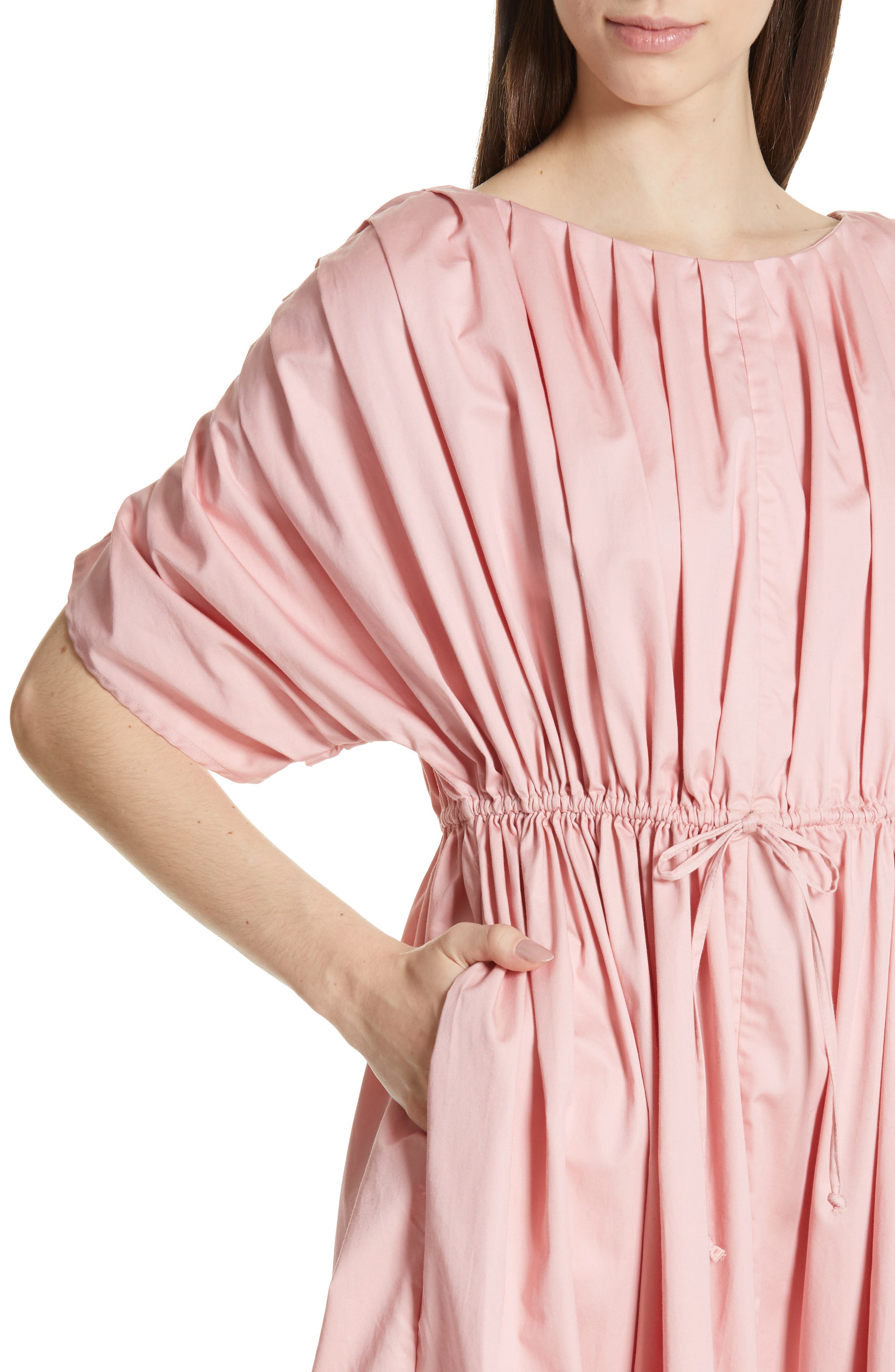 Pleated Cotton Midi Dress,                             Alternate thumbnail 4, color,                             PINK