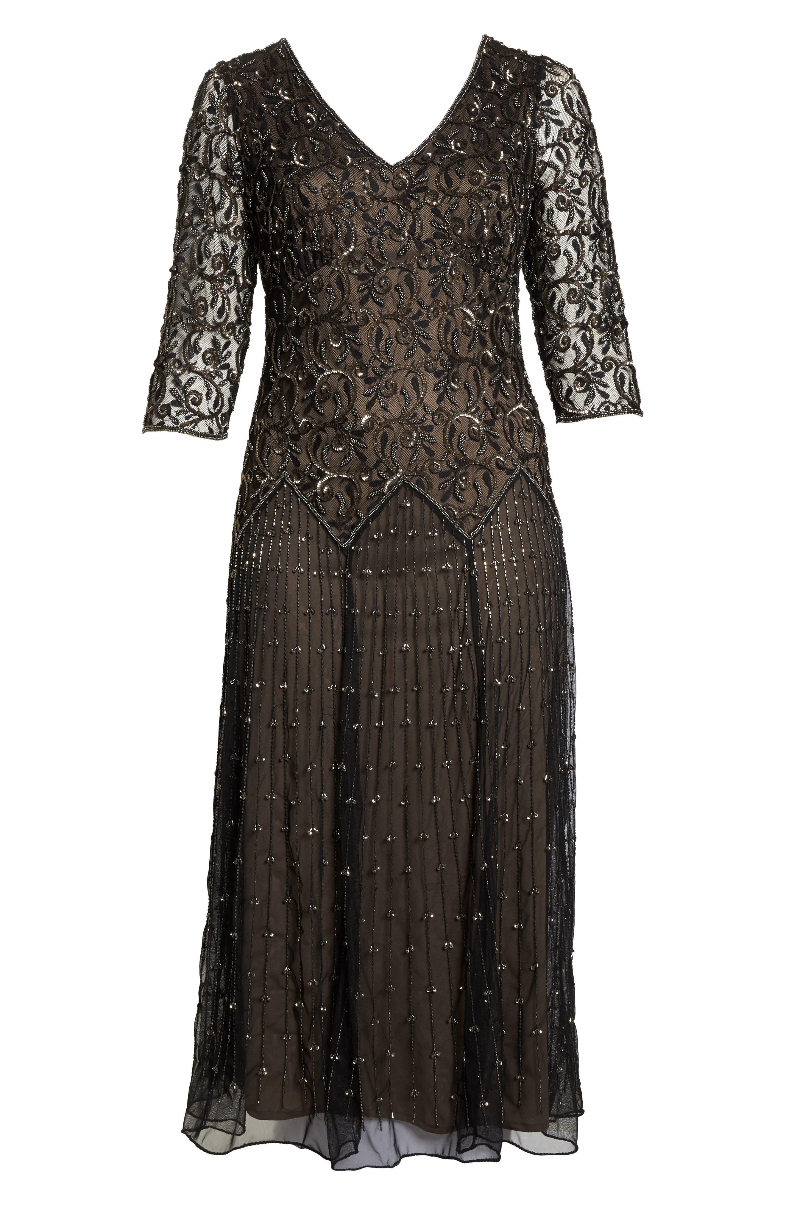 Embellished Mesh Gown,                             Alternate thumbnail 6, color,                             BLACK