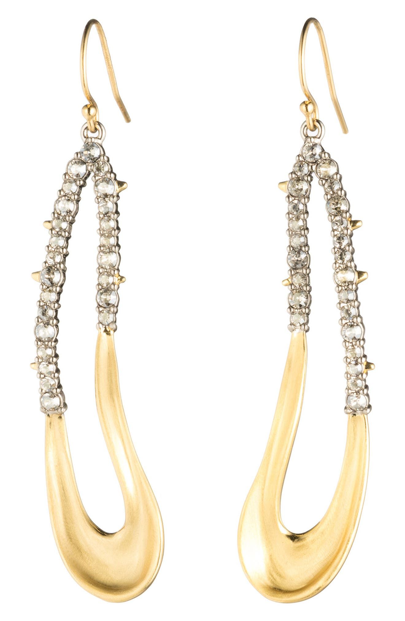 Freeform Crystal Encrusted Drop Earrings,                         Main,                         color, GOLD/ SILVER