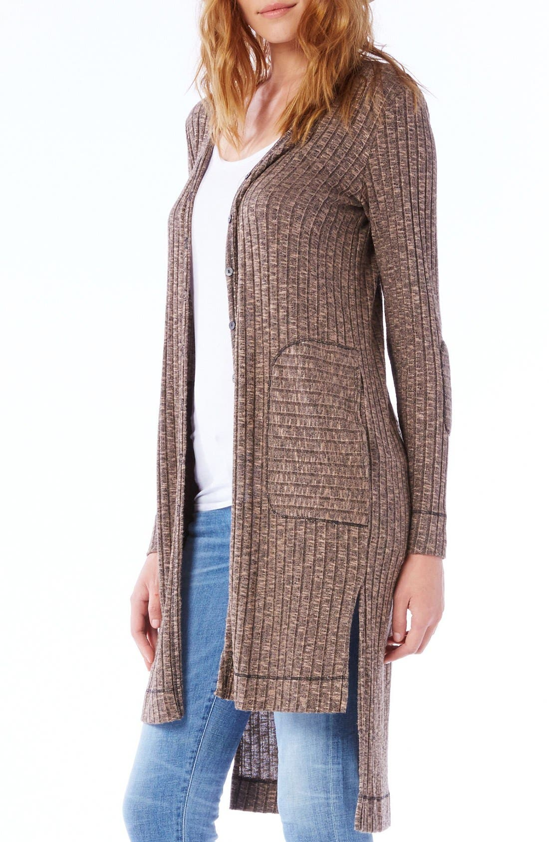 Elbow Patch Long High/Low Cardigan,                             Alternate thumbnail 7, color,
