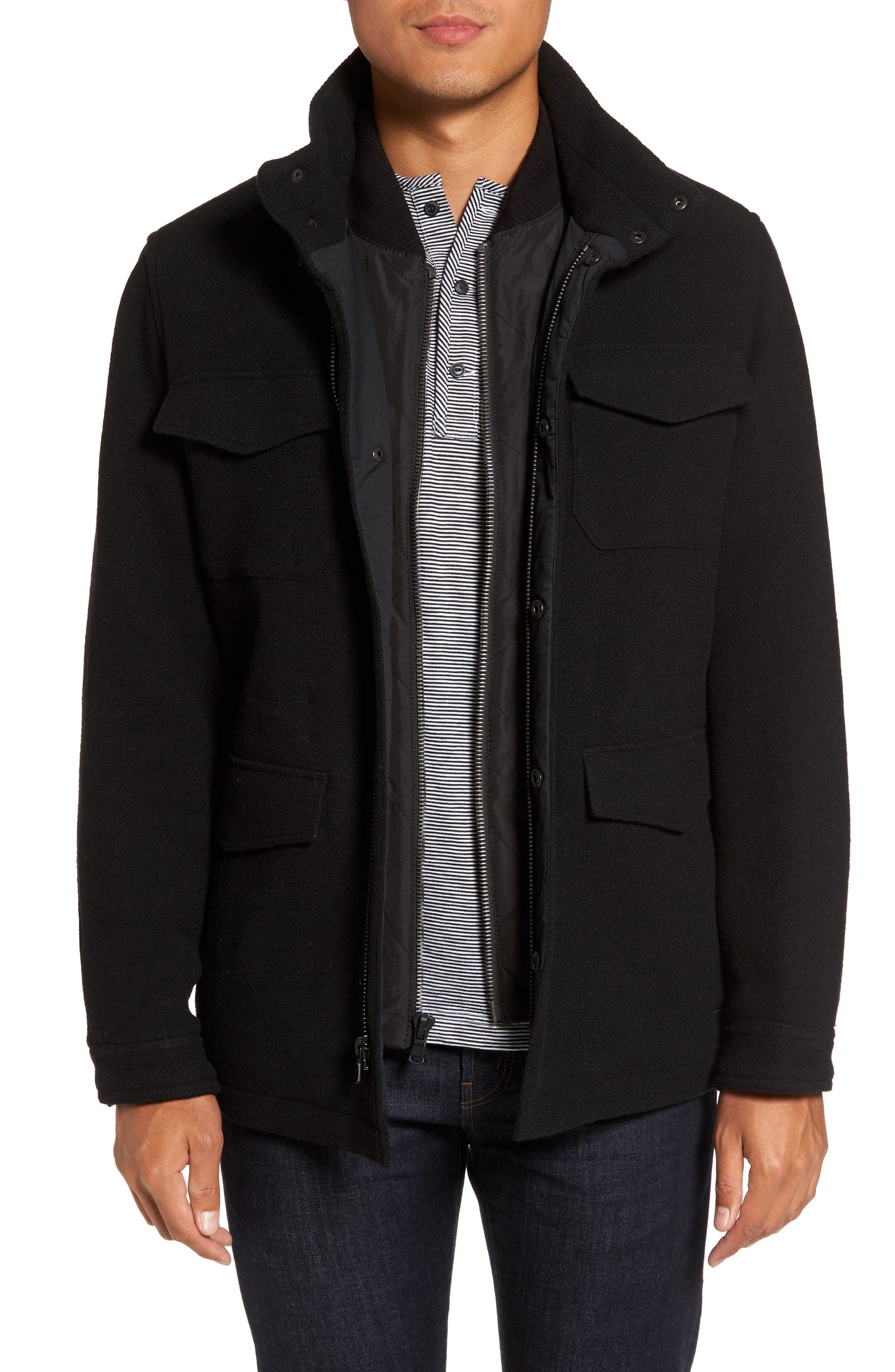 Regular Fit Double Layer Field Jacket,                             Main thumbnail 1, color,                             001