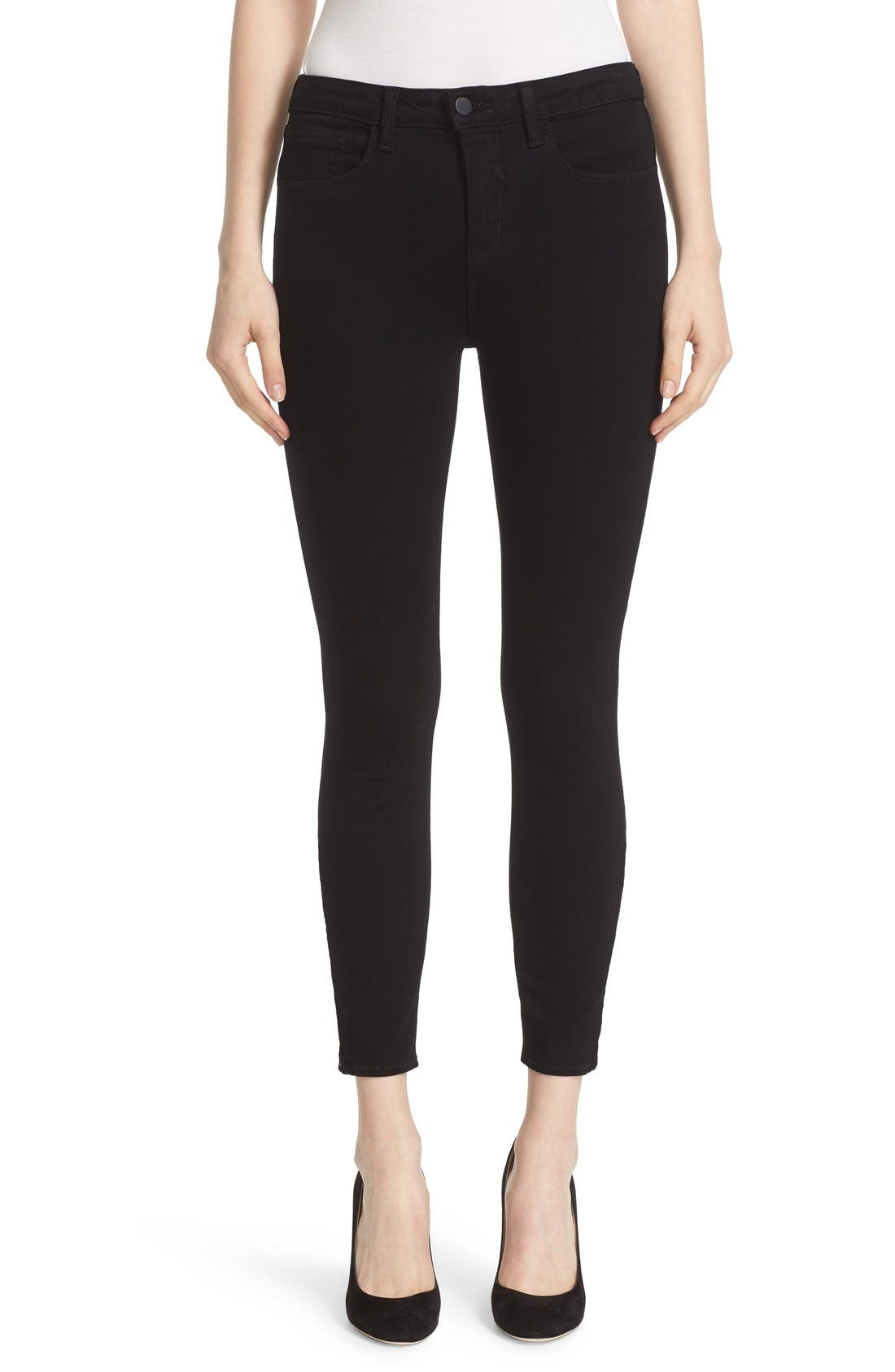 'Andrea' Ankle Zip Skinny Jeans,                             Main thumbnail 1, color,                             001