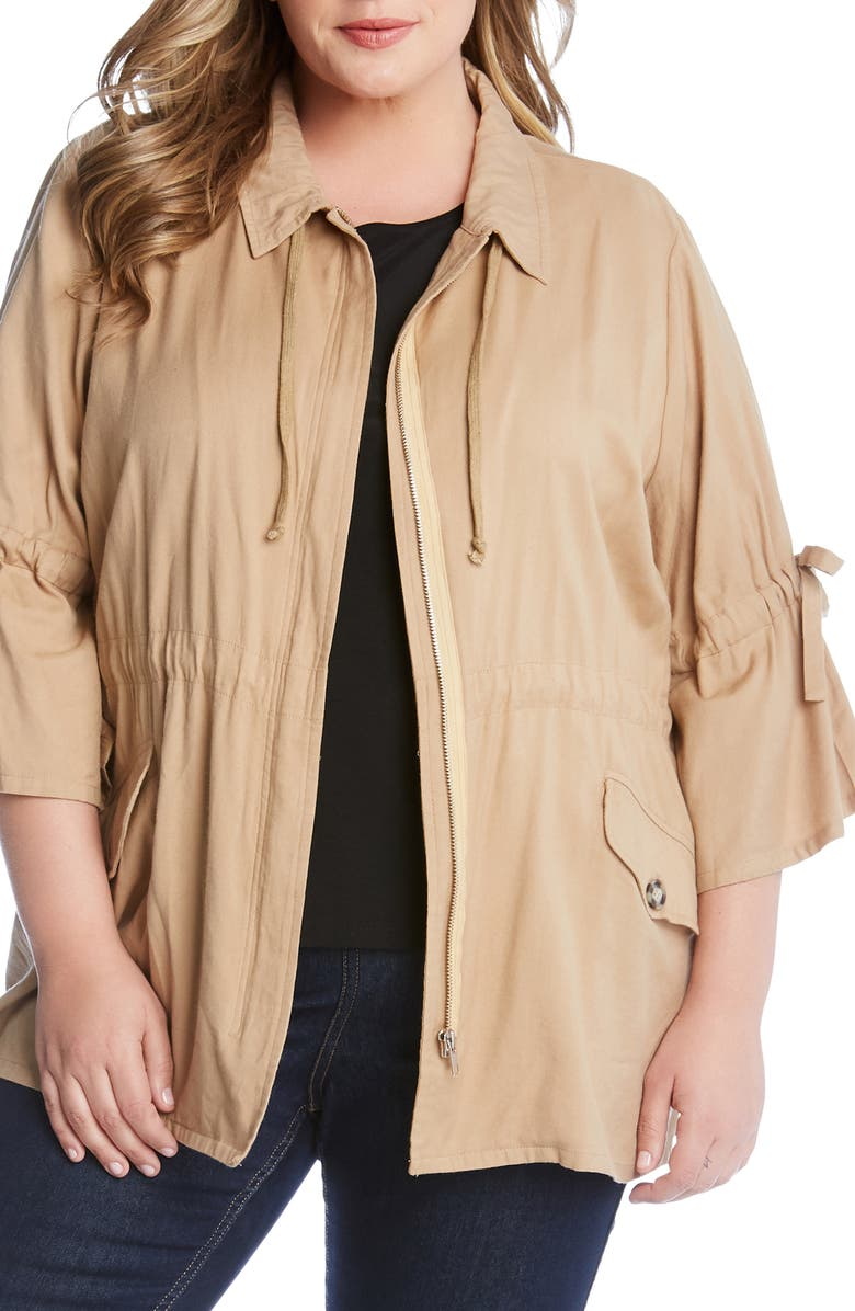 90d05cd8c39 Karen Kane Tie Sleeve Cargo Jacket (Plus Size)