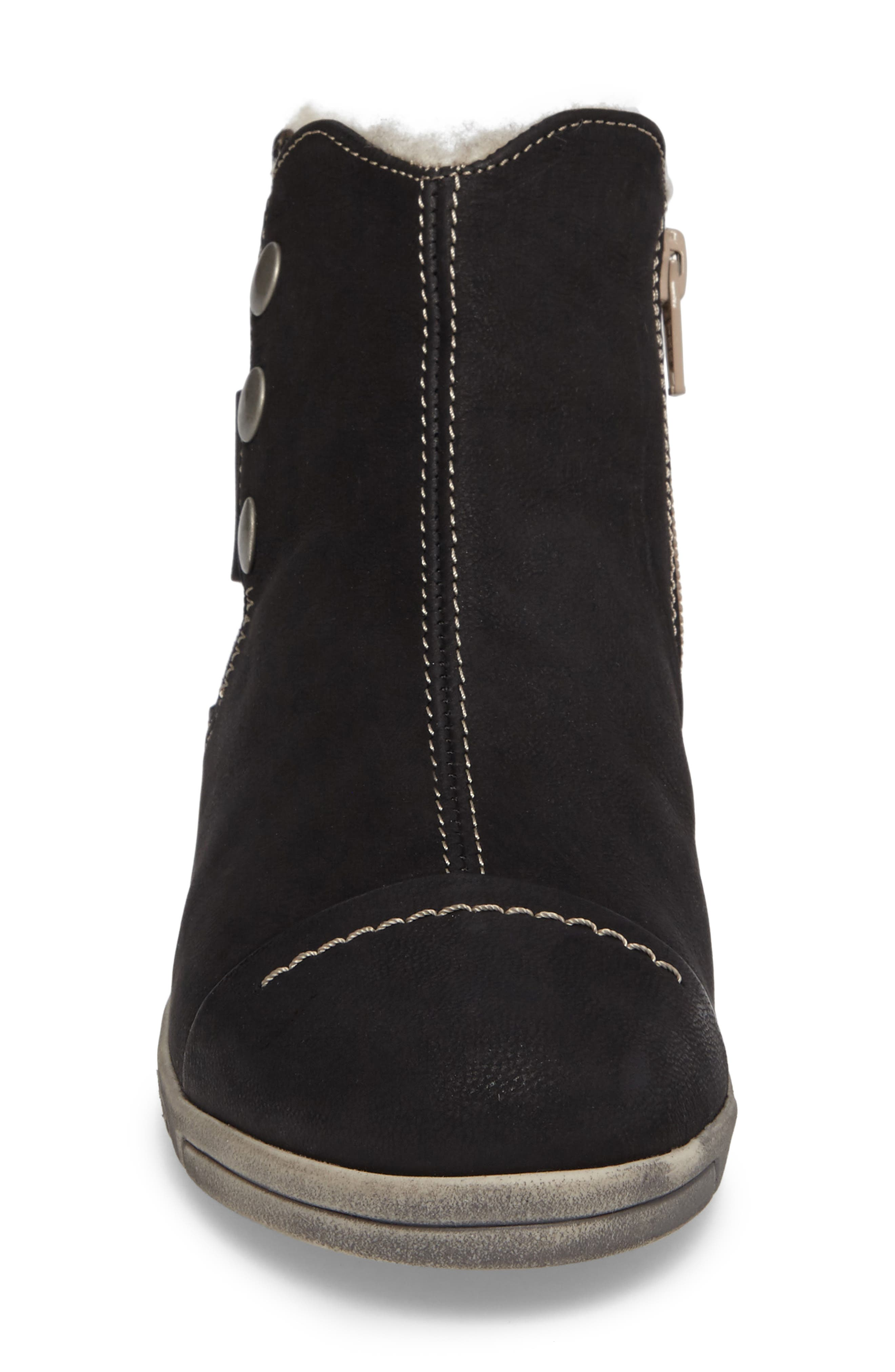 Aline Fantasy Wool Liked Boot,                             Alternate thumbnail 4, color,                             BLACK LEATHER