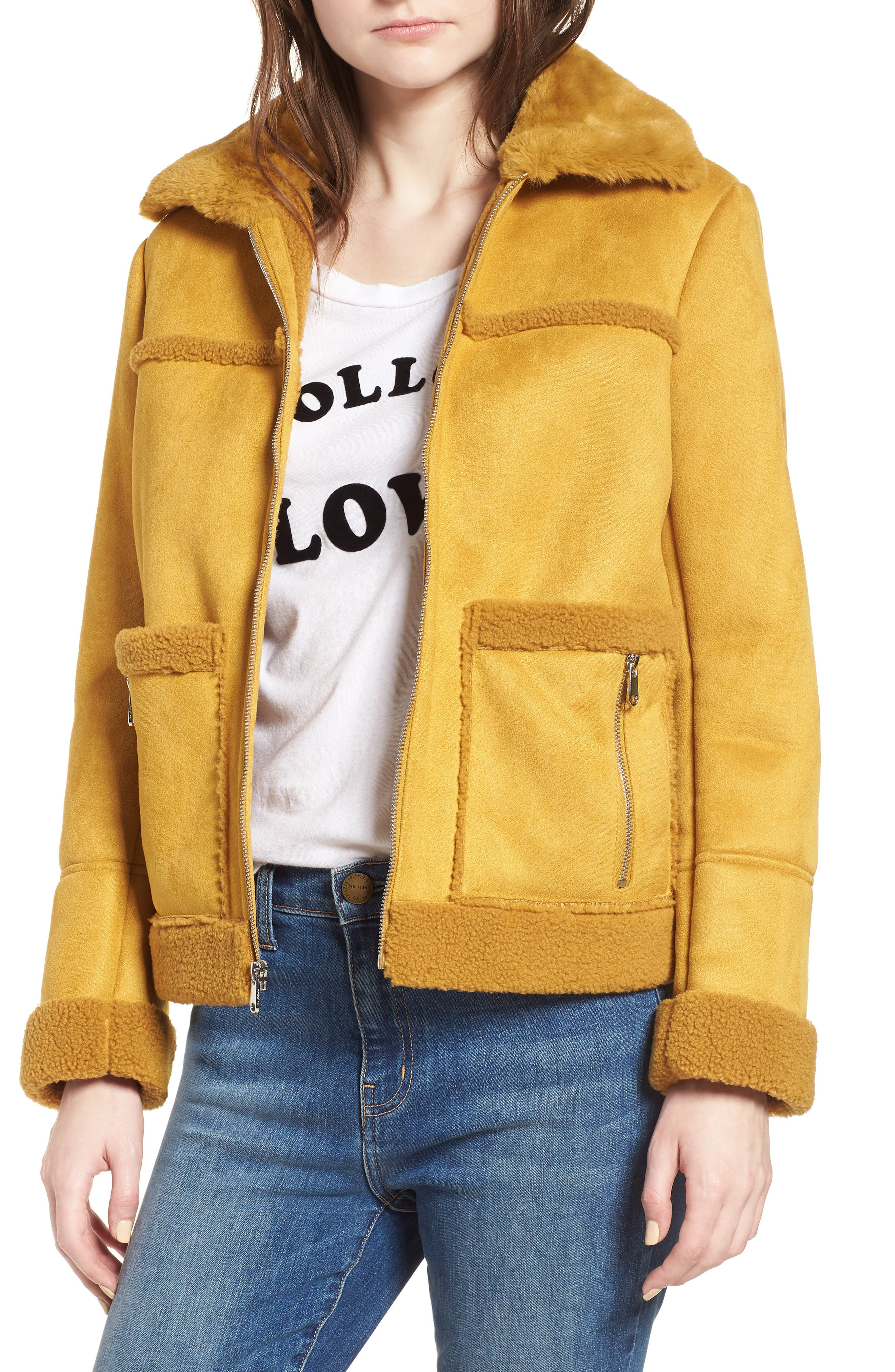 Faux Shearling Zip Front Jacket,                             Main thumbnail 1, color,                             702