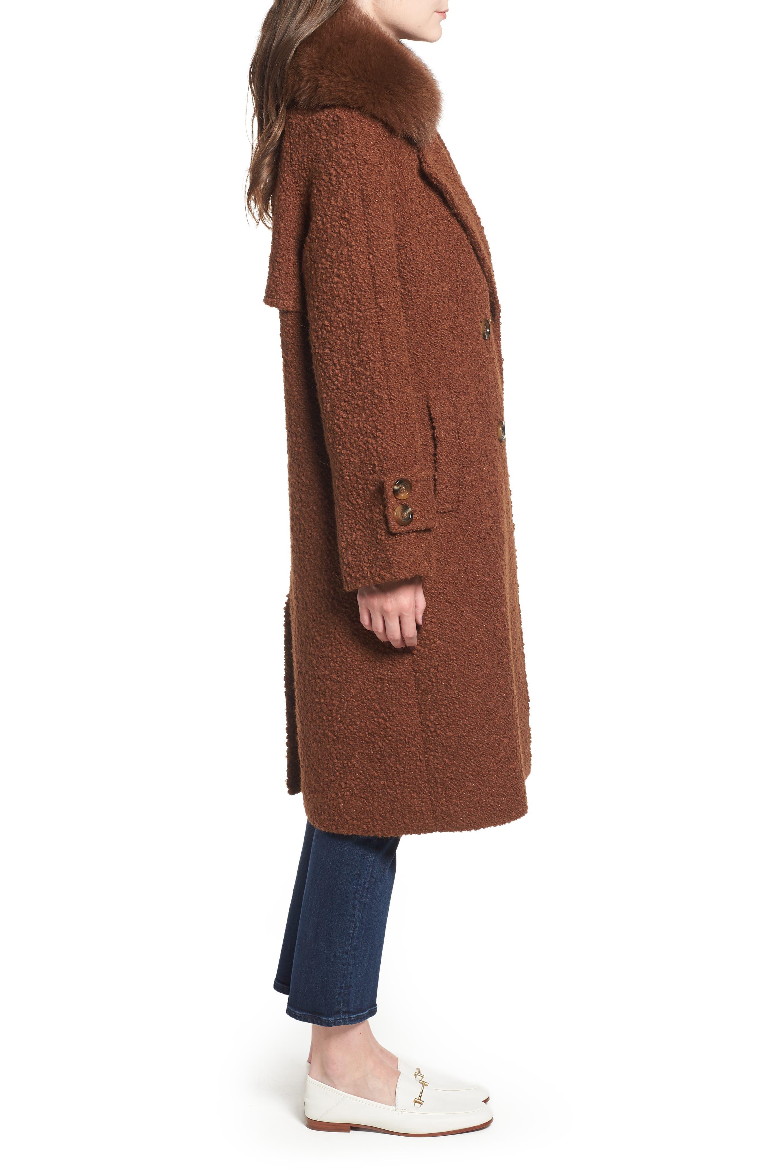 London Genuine Fox Fur Trim Long Coat,                             Alternate thumbnail 3, color,                             MOCHA