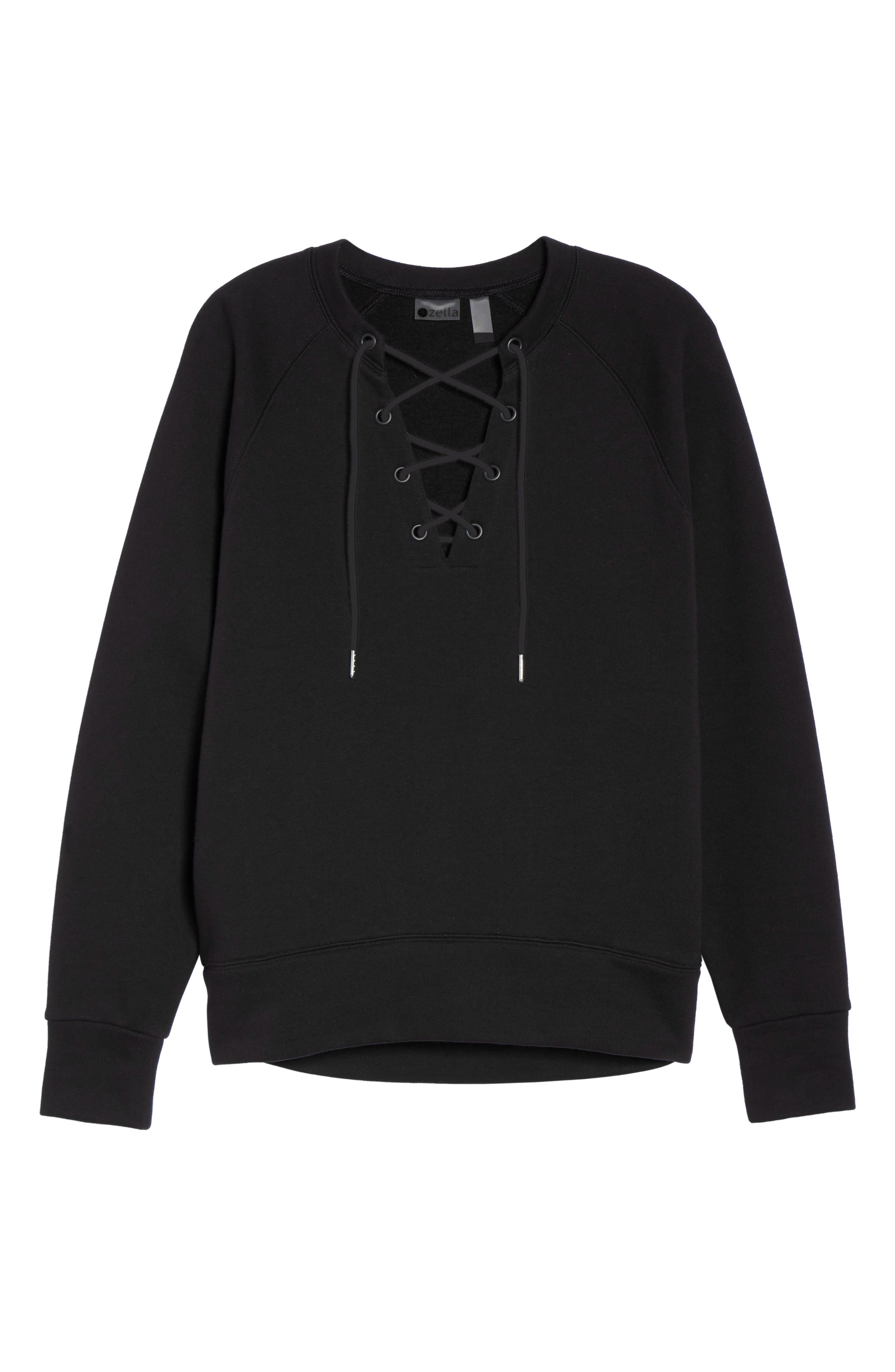 Lace-Up Pullover,                             Alternate thumbnail 7, color,                             001