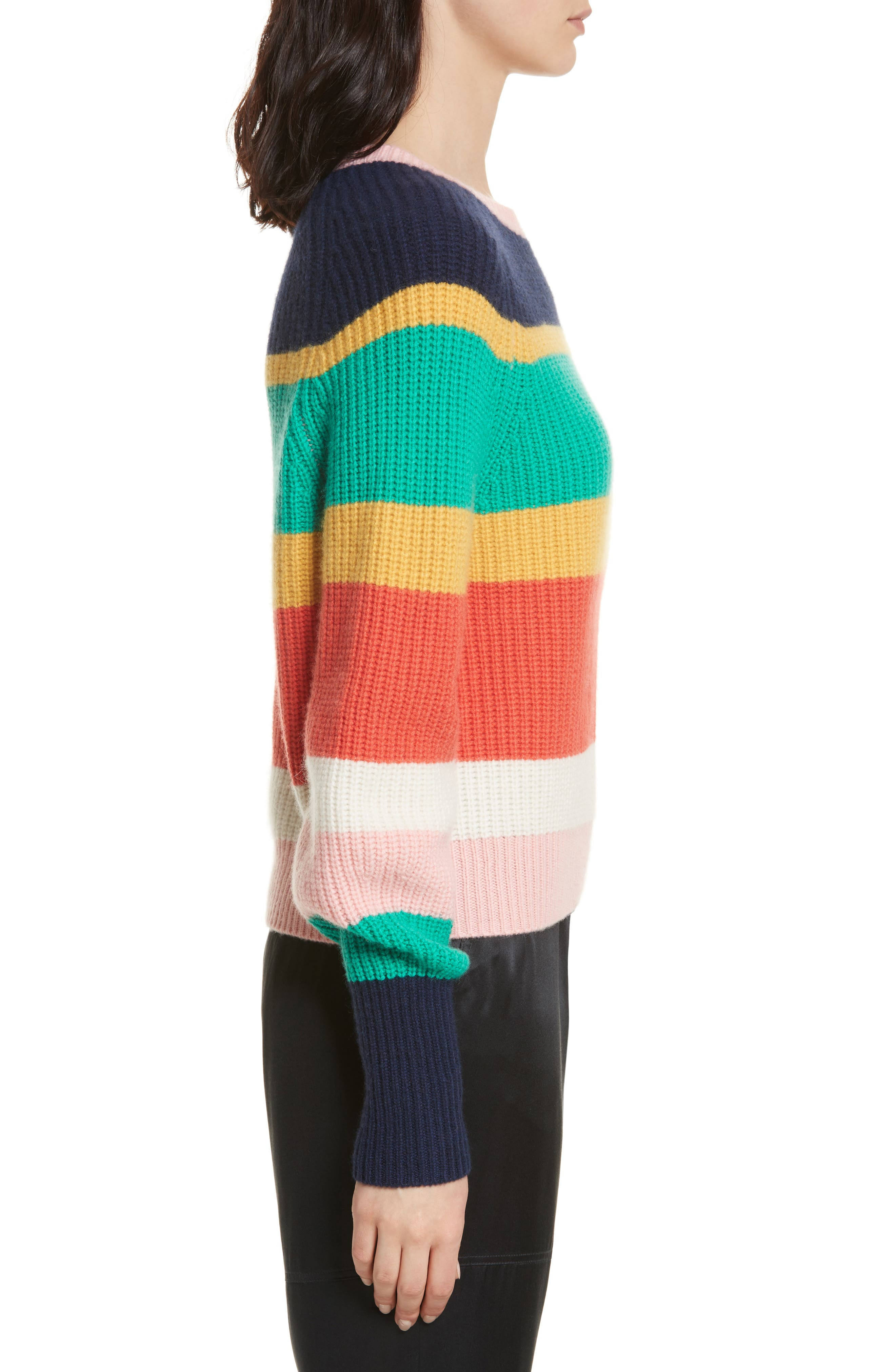 Haady Stripe Wool & Cashmere Sweater,                             Alternate thumbnail 3, color,                             475