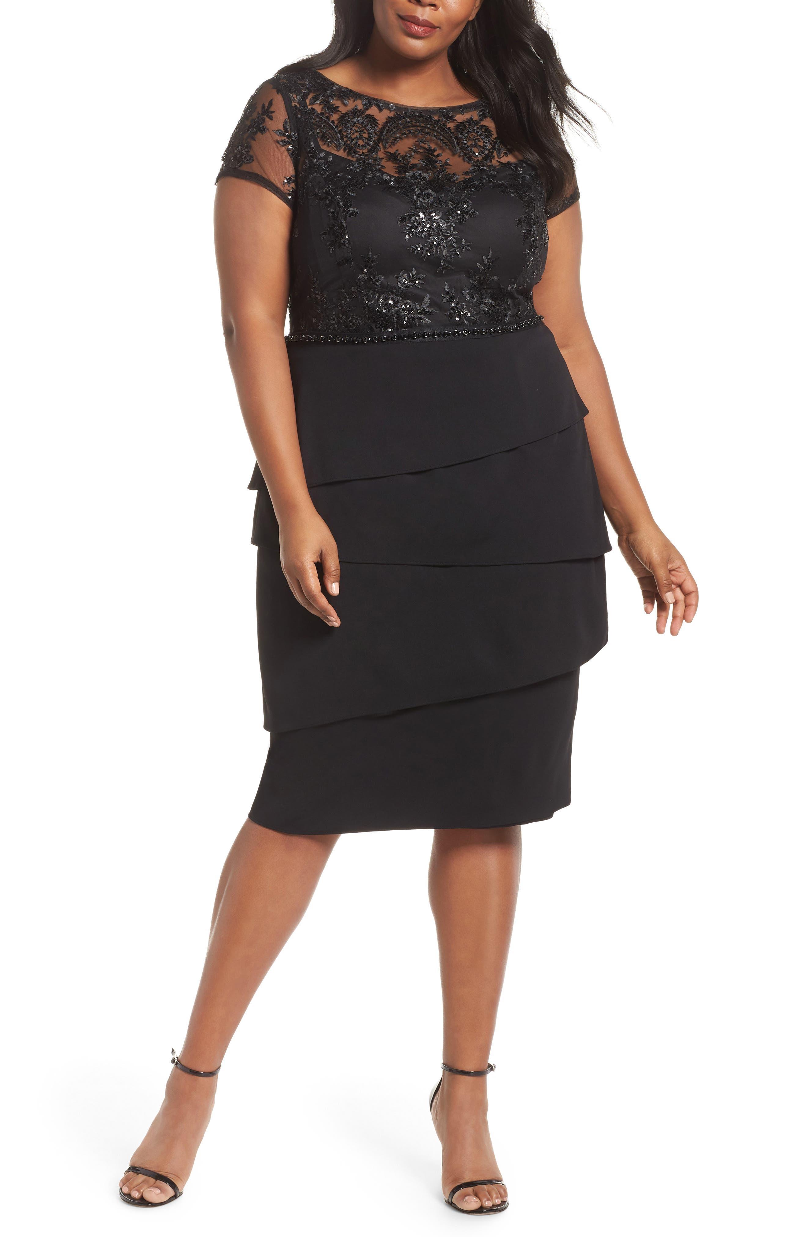 Plus Size Adiranna Papell Sequin Bodice Sheath Dress, Black