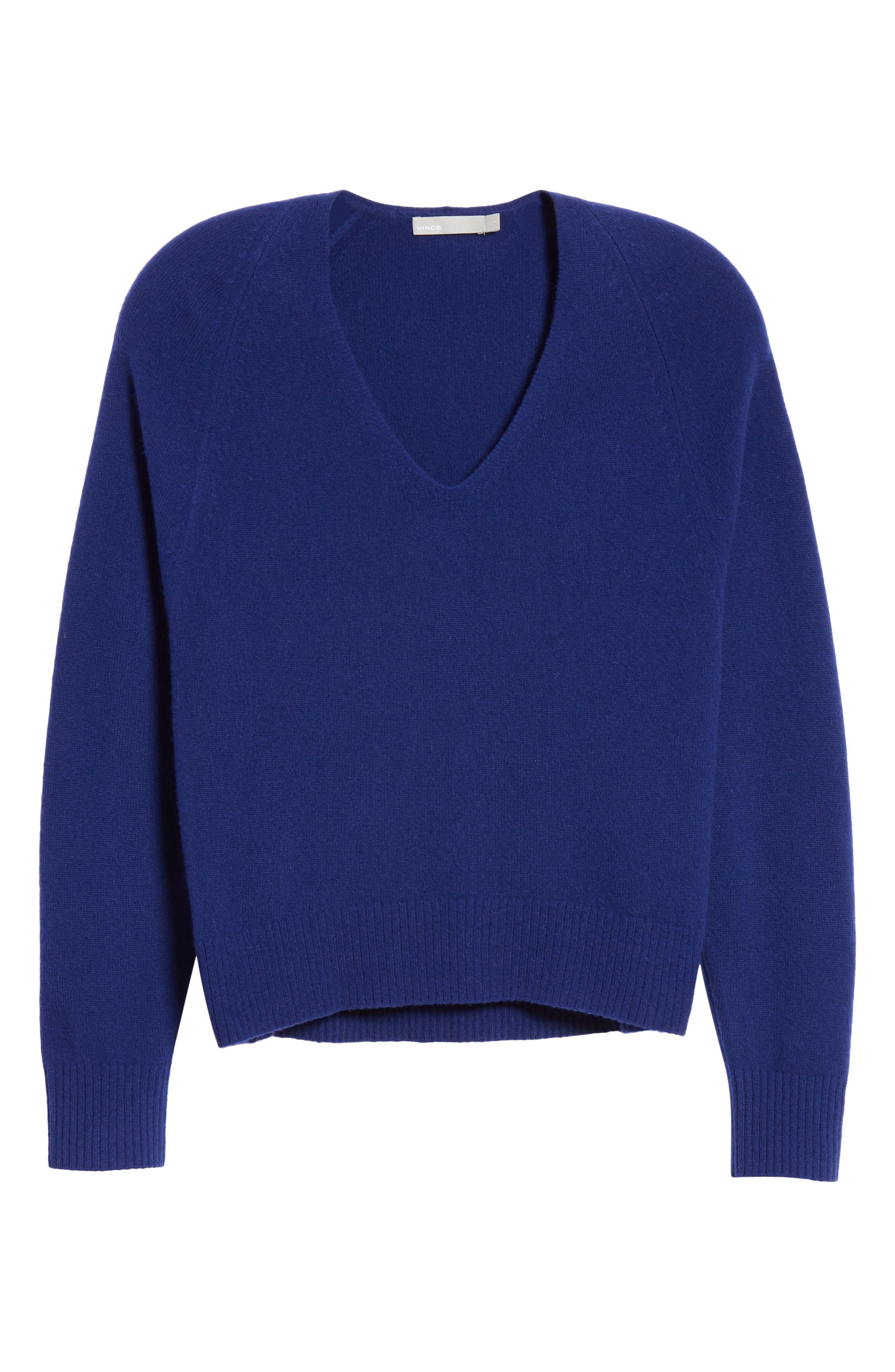 Deep V-Neck Cashmere Sweater,                             Alternate thumbnail 6, color,                             INK