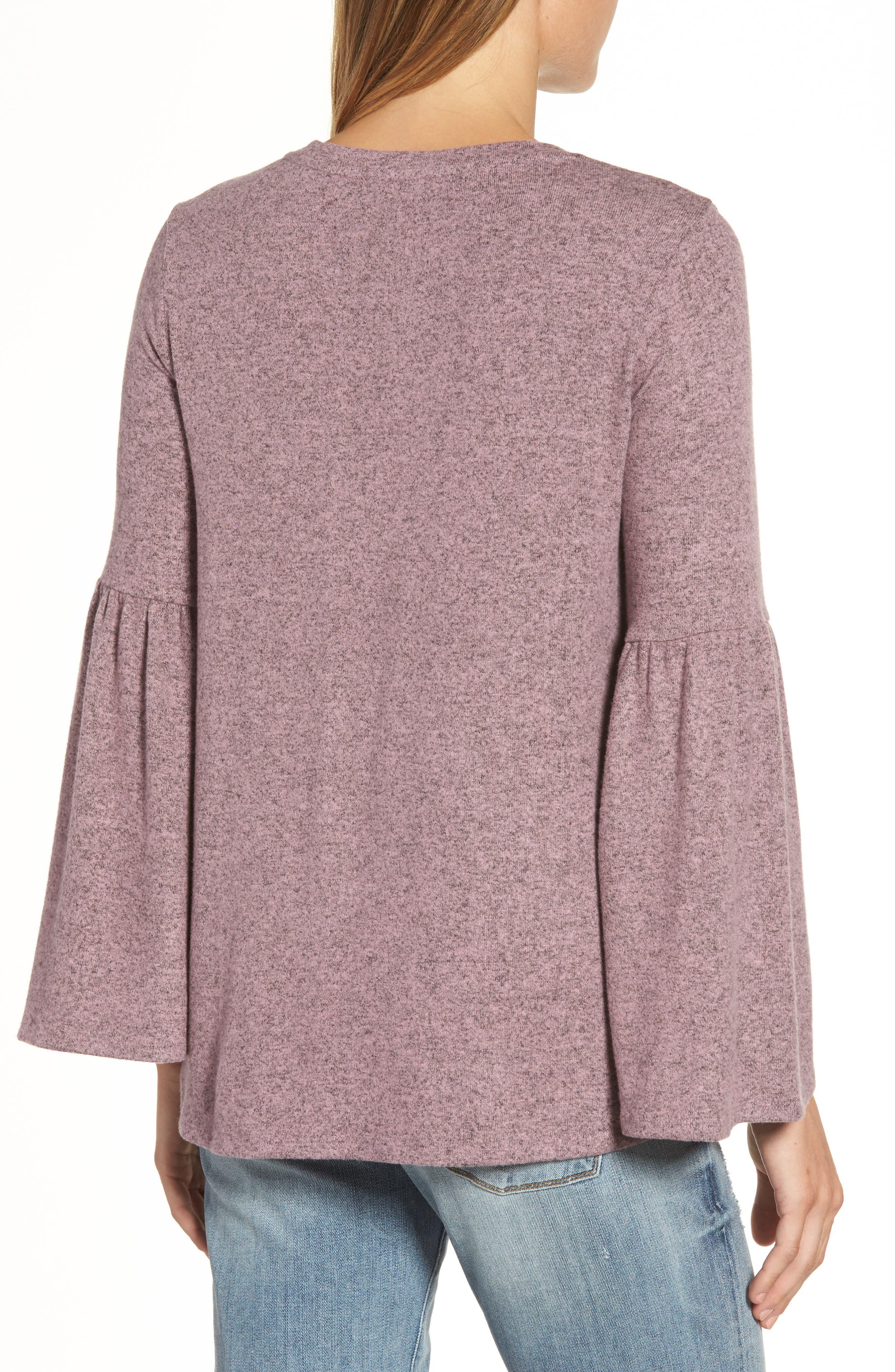 Bell Sleeve Cozy Fleece Pullover,                             Alternate thumbnail 16, color,