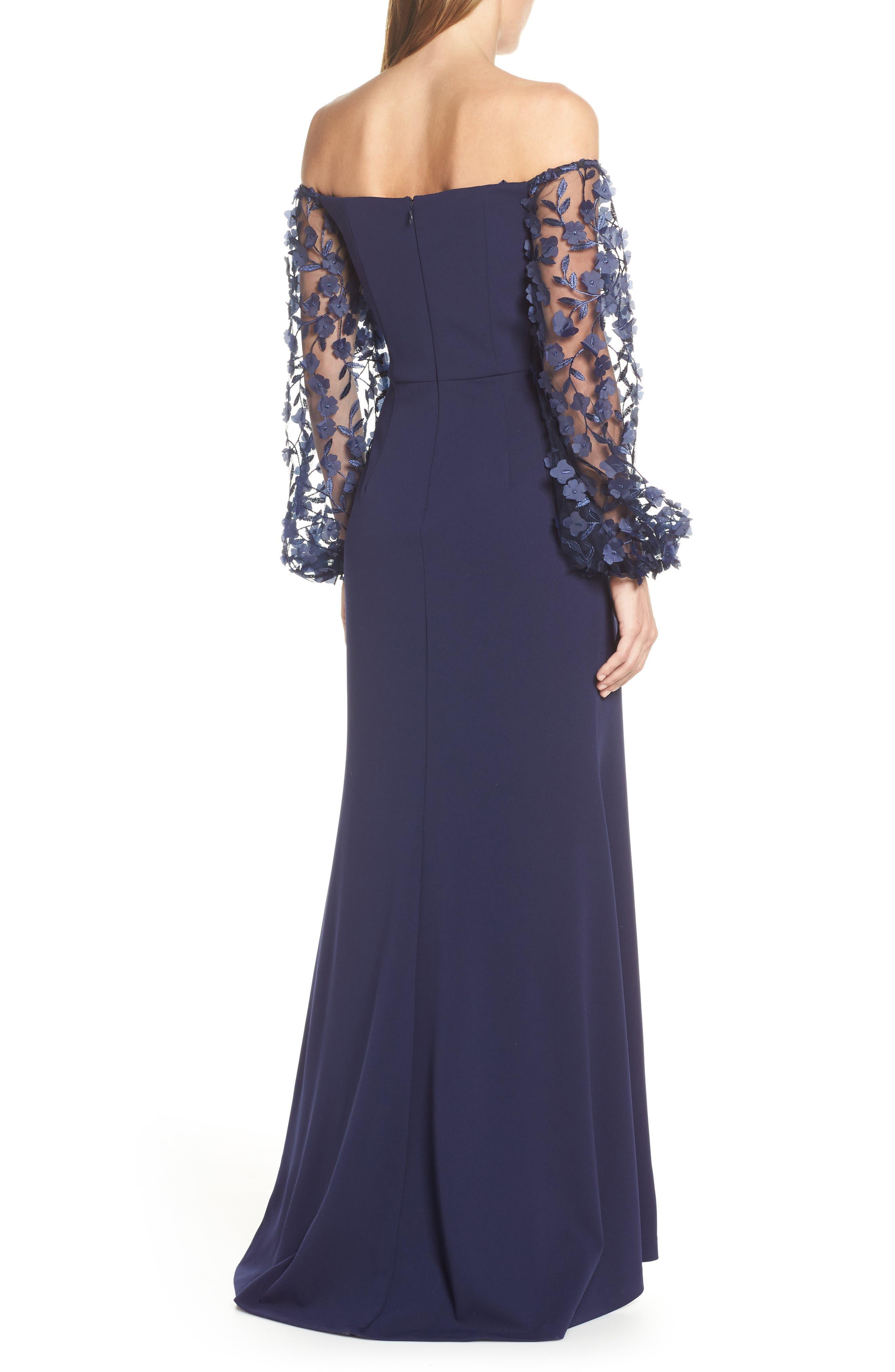 ELIZA J,                             Off the Shoulder 3D Floral Sleeve Scuba Crepe Evening Dress,                             Alternate thumbnail 2, color,                             NAVY