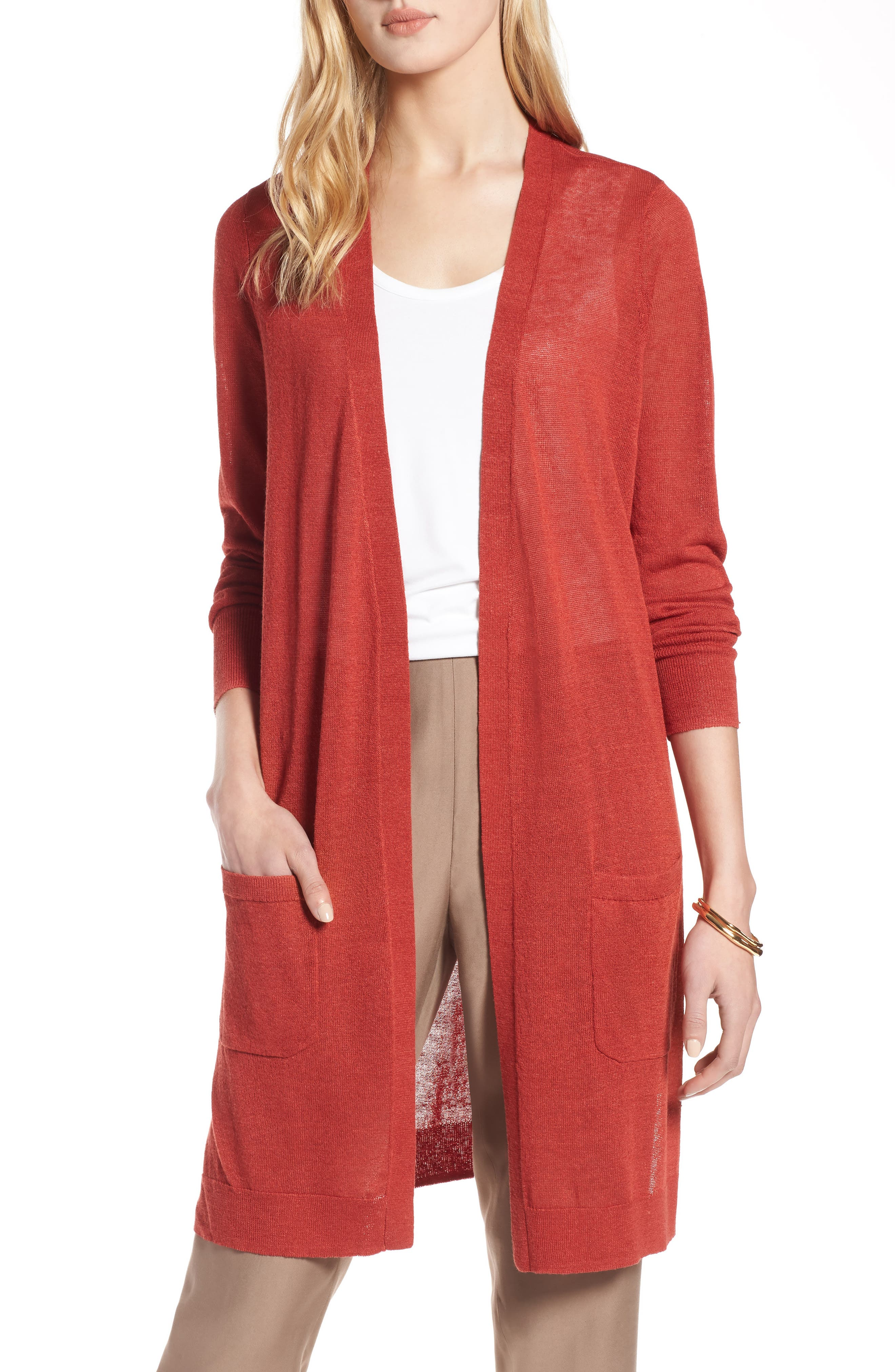 Long Linen Blend Cardigan,                         Main,                         color, RUST BOSSA NOVA