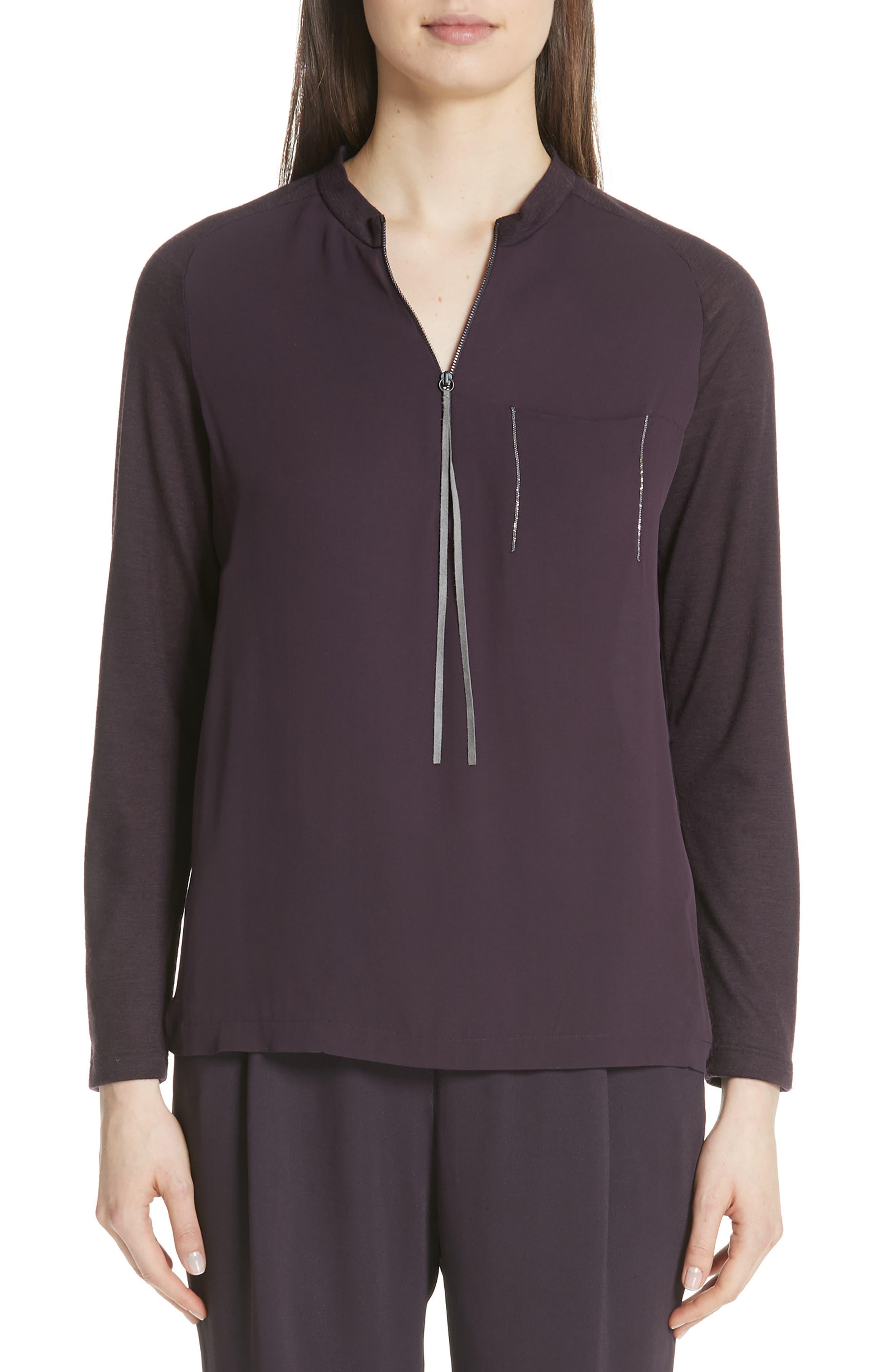Fabiana Filippi Satin Front Merino Wool Sweater, 8 IT - Purple