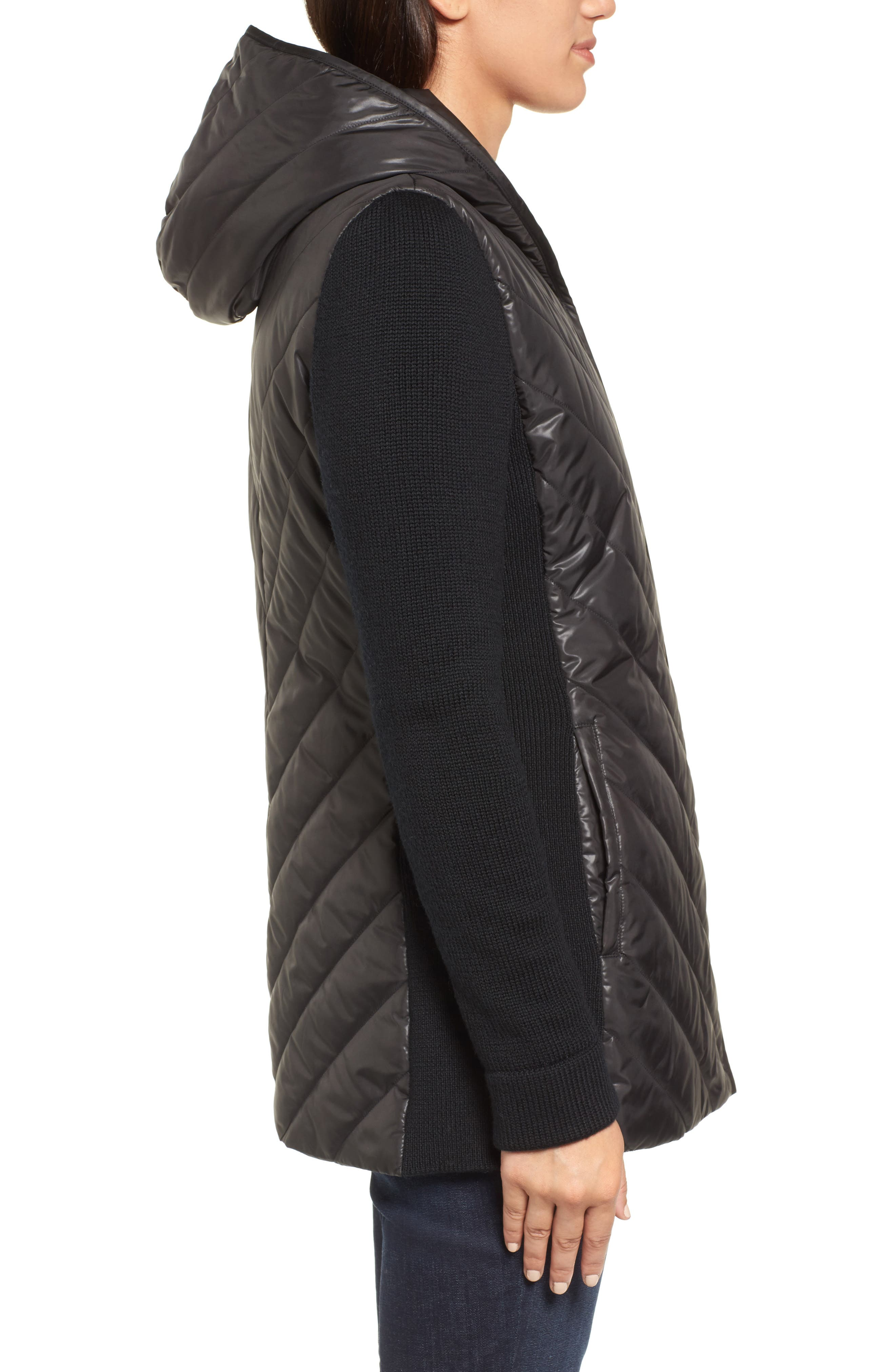 Hooded Merino Wool Trim Jacket,                             Alternate thumbnail 3, color,                             001