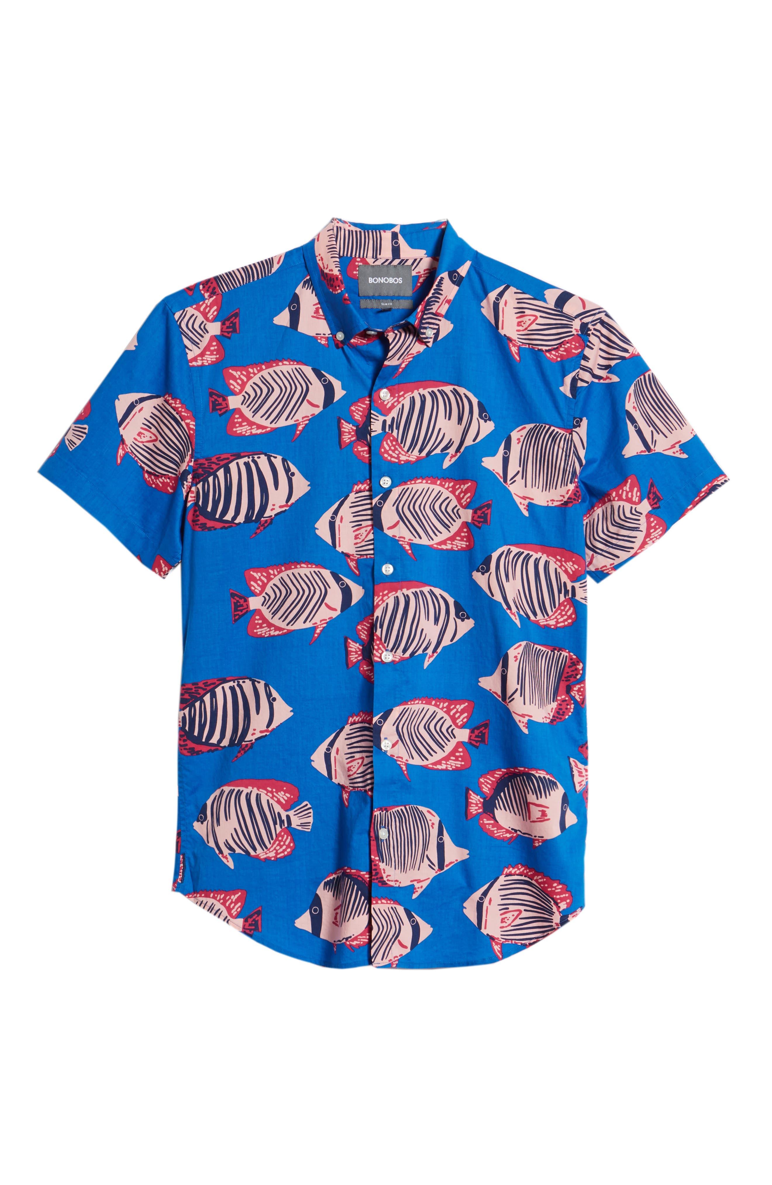 Riviera Slim Fit Fish Print Sport Shirt,                             Alternate thumbnail 6, color,                             400