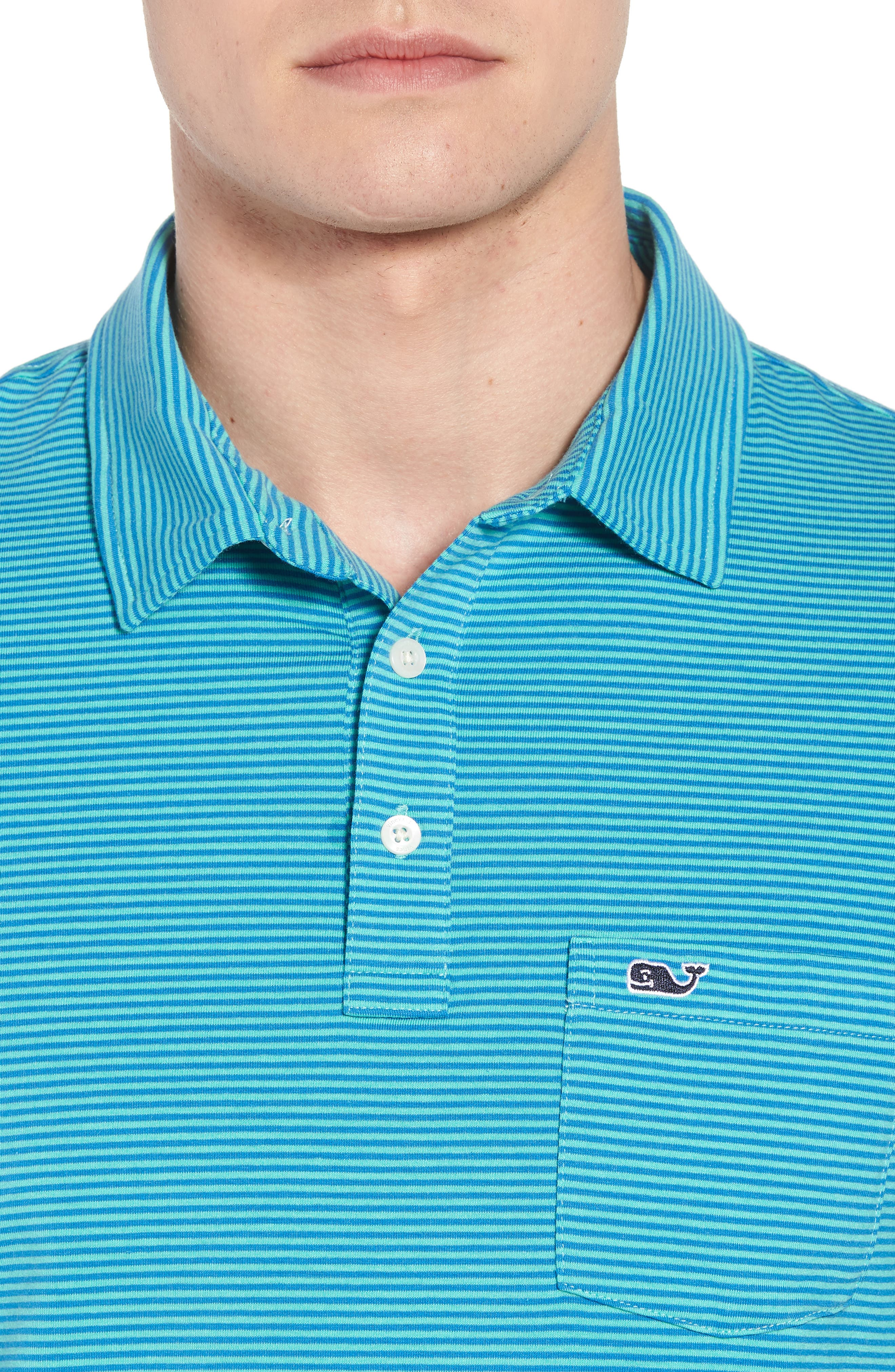 Edgartown Stripe Stretch Polo,                             Alternate thumbnail 4, color,                             459