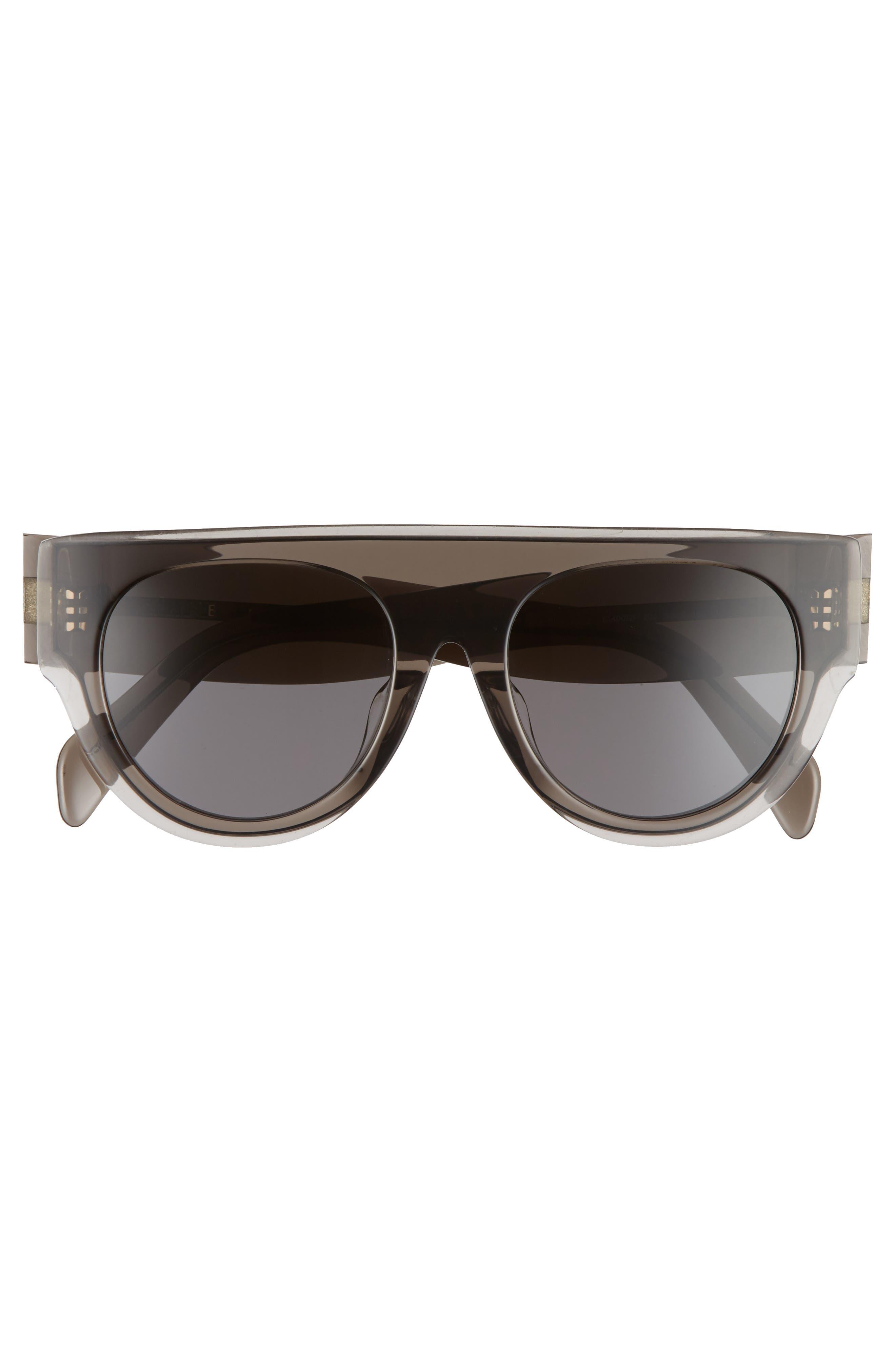 52mm Pilot Sunglasses,                             Alternate thumbnail 3, color,                             DARK GREY/ SMOKE