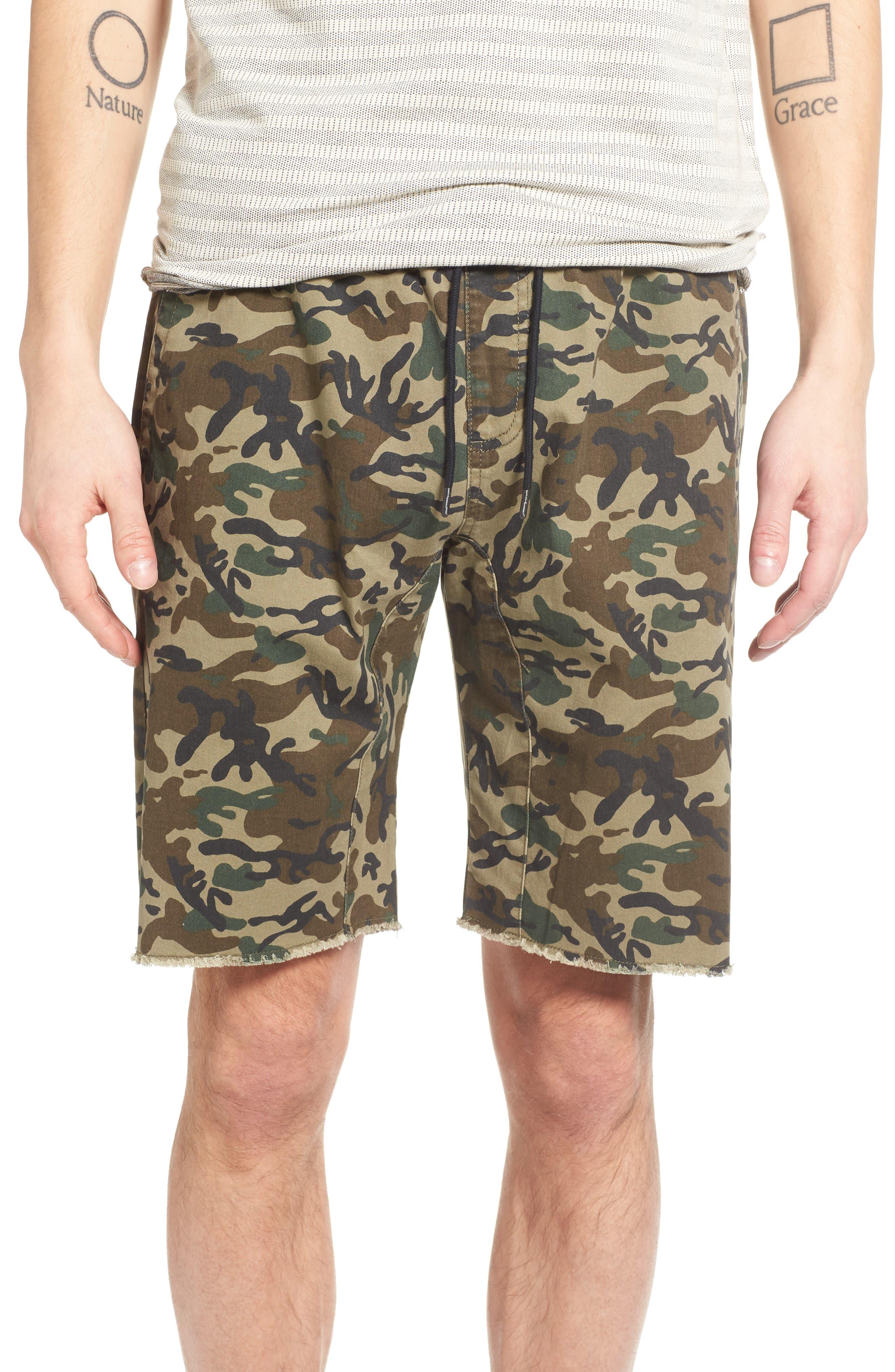 Camo Print Cutoff Twill Shorts,                             Main thumbnail 2, color,