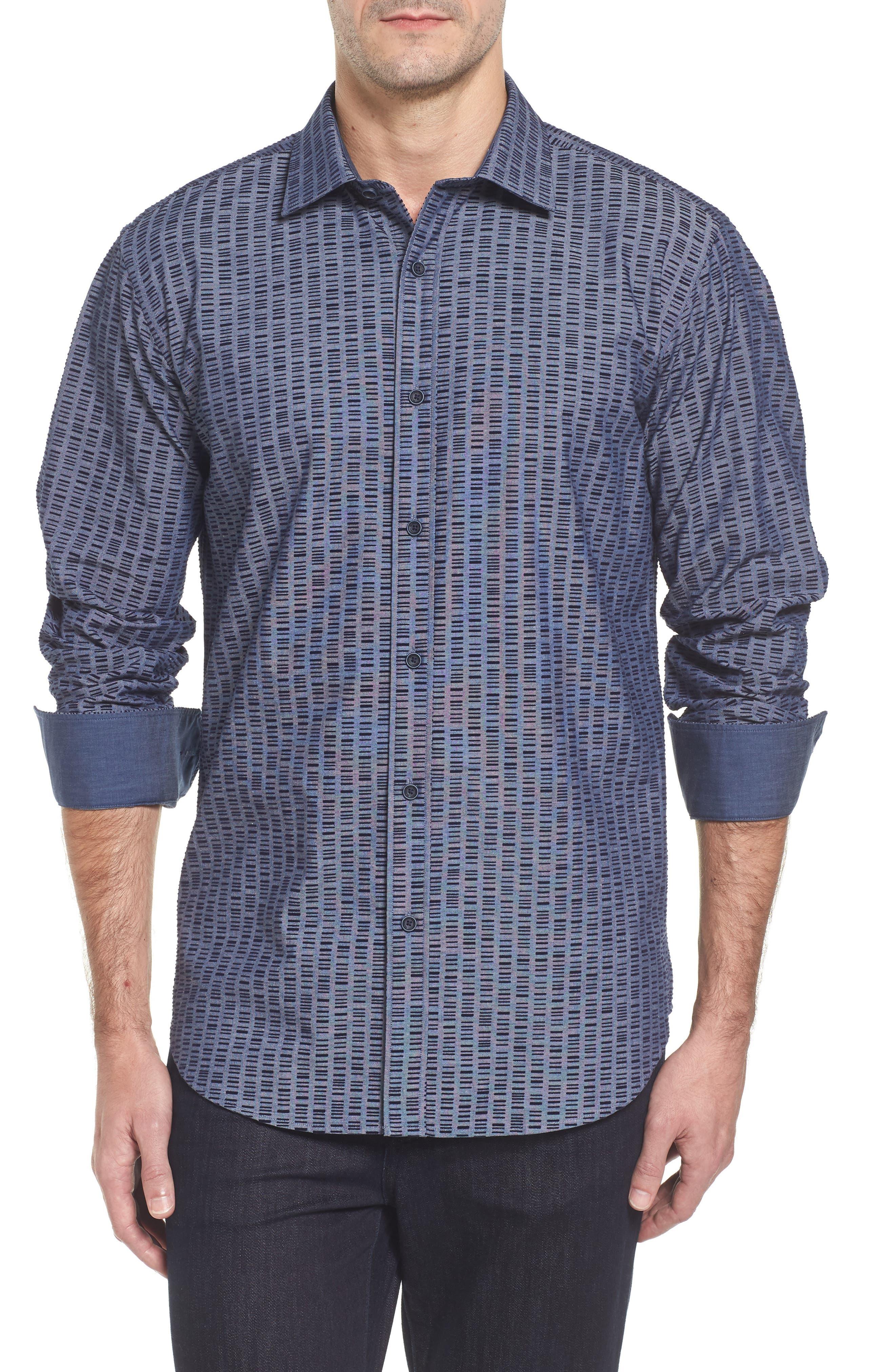 Slim Fit Flock Print Sport Shirt,                         Main,                         color,