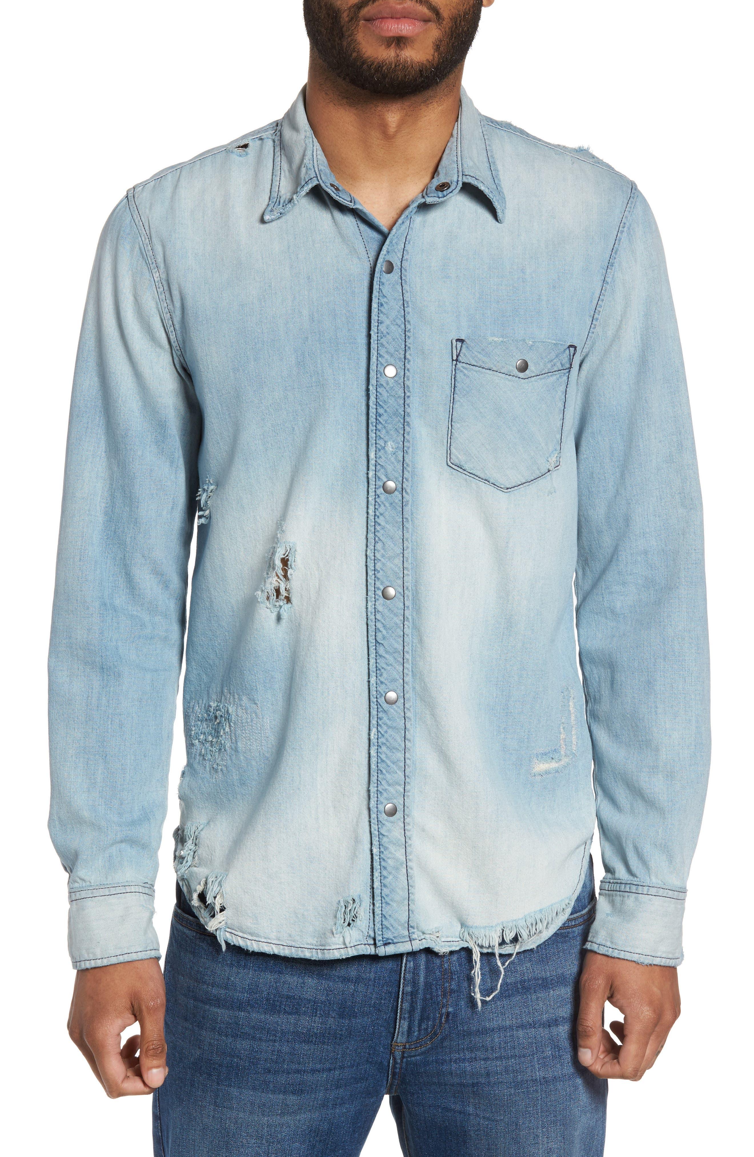 Hudson Slim Fit Destructed Denim Shirt,                             Main thumbnail 1, color,