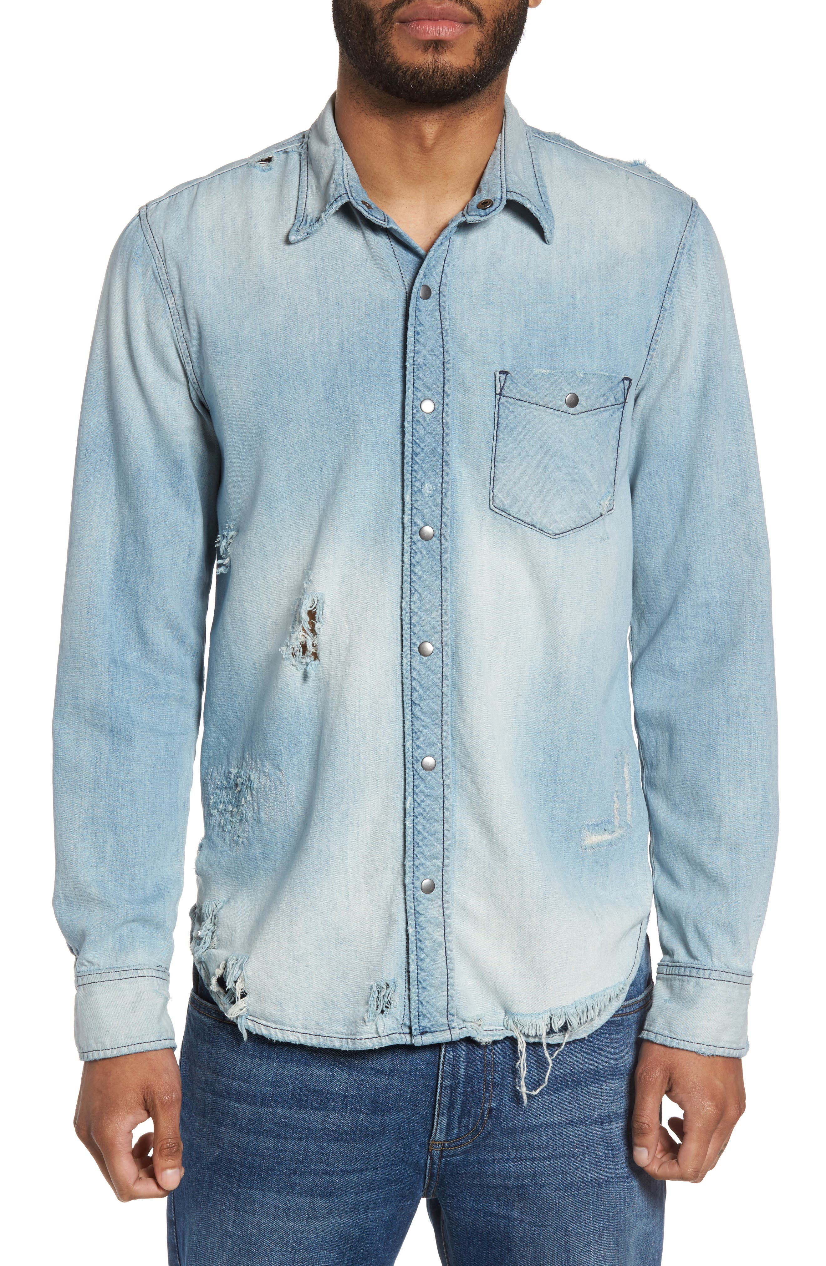 Hudson Slim Fit Destructed Denim Shirt,                         Main,                         color,
