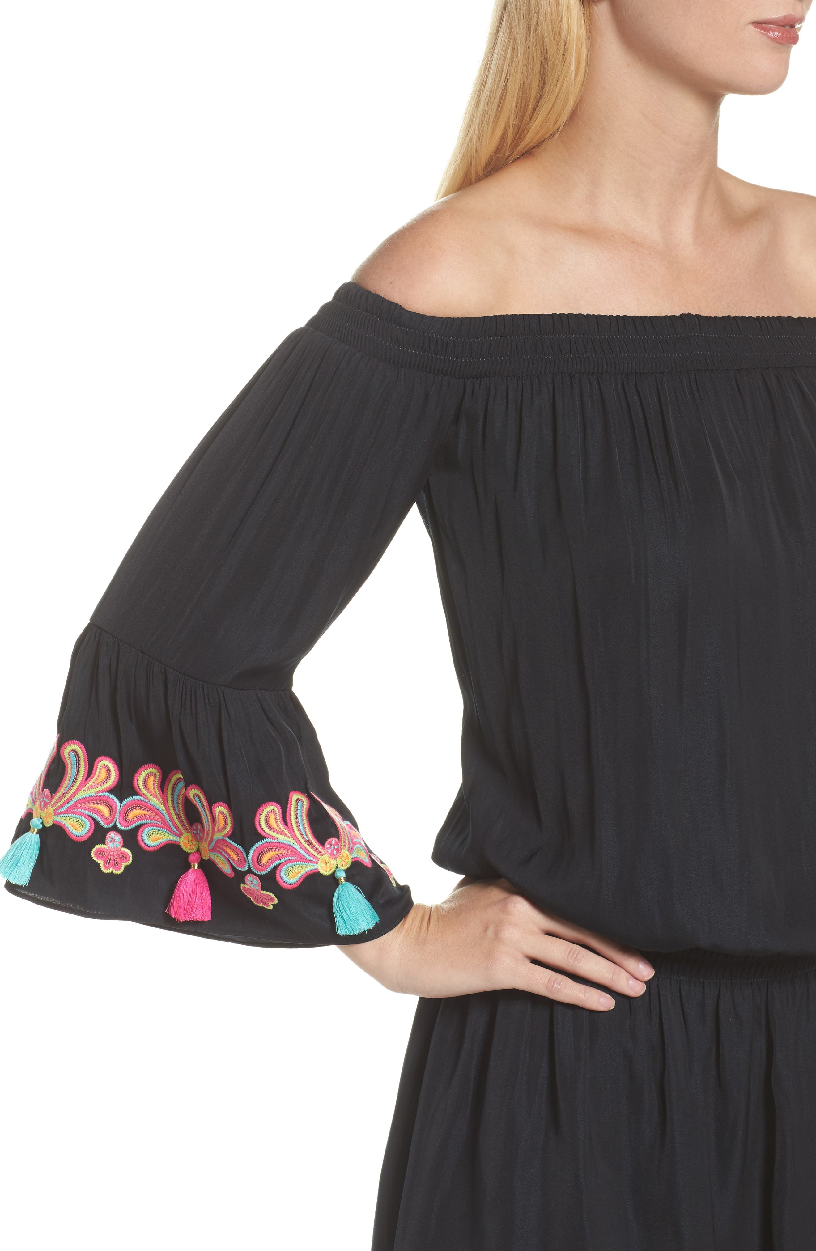 Polly Off the Shoulder Dress,                             Alternate thumbnail 4, color,                             002