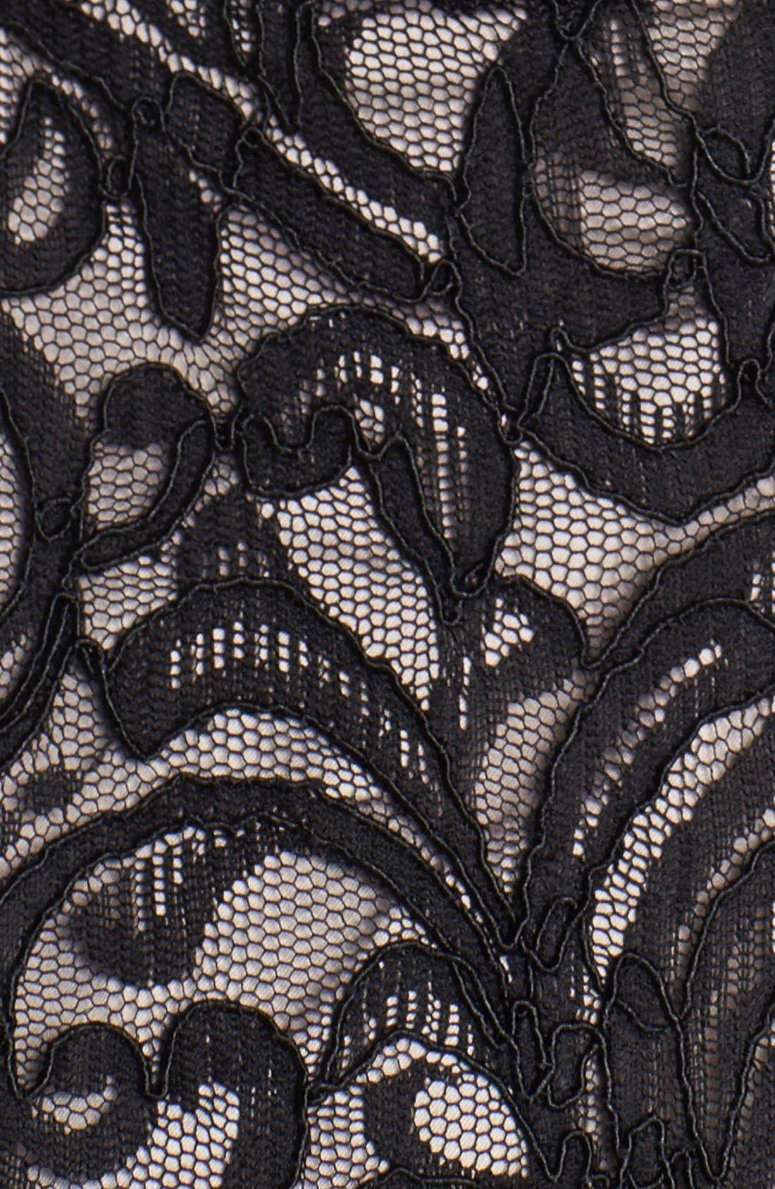 Illusion Yoke Lace Fit & Flare Dress,                             Alternate thumbnail 4, color,                             001