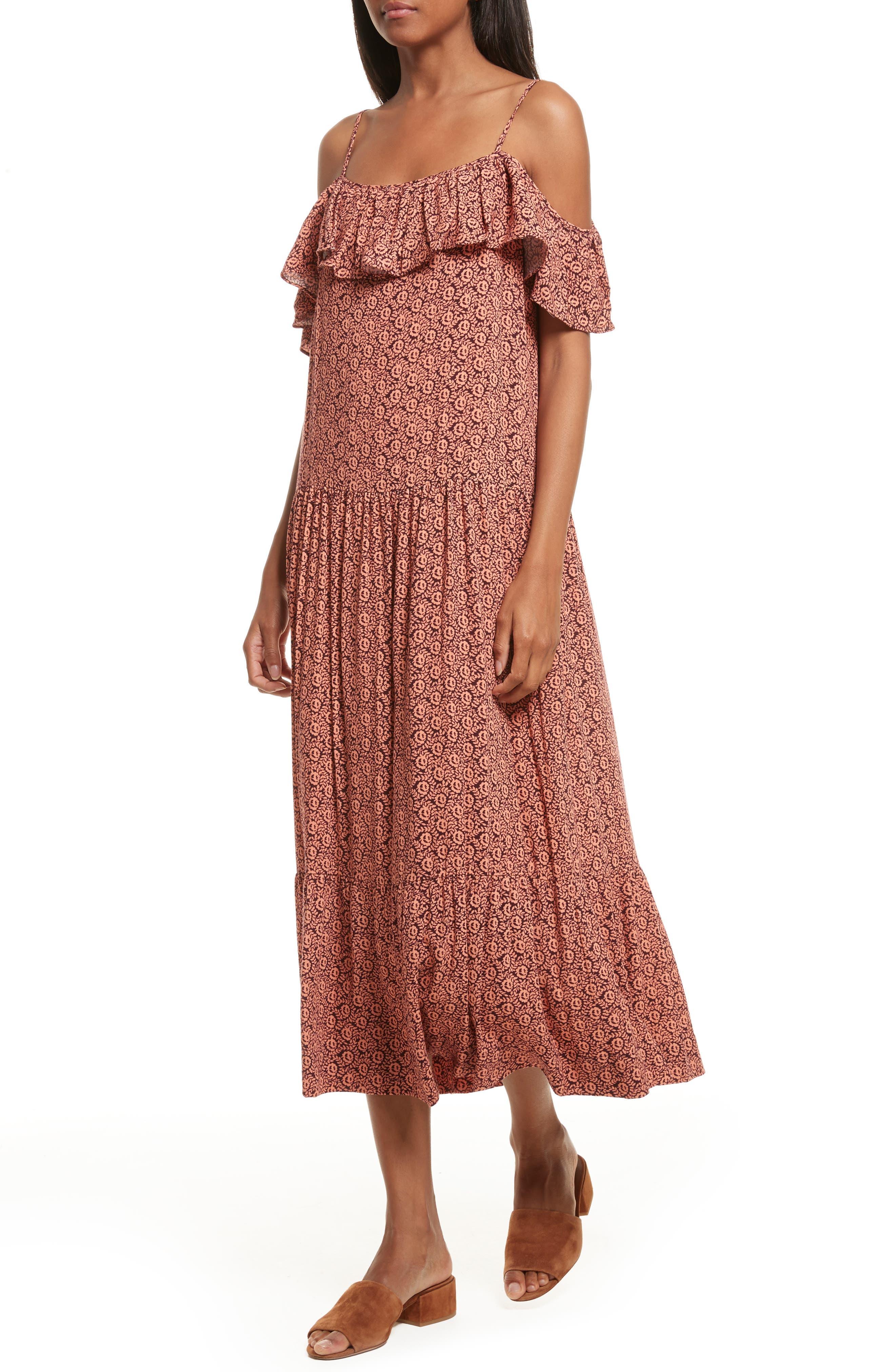 Lapaz Off the Shoulder Midi Dress,                             Alternate thumbnail 4, color,