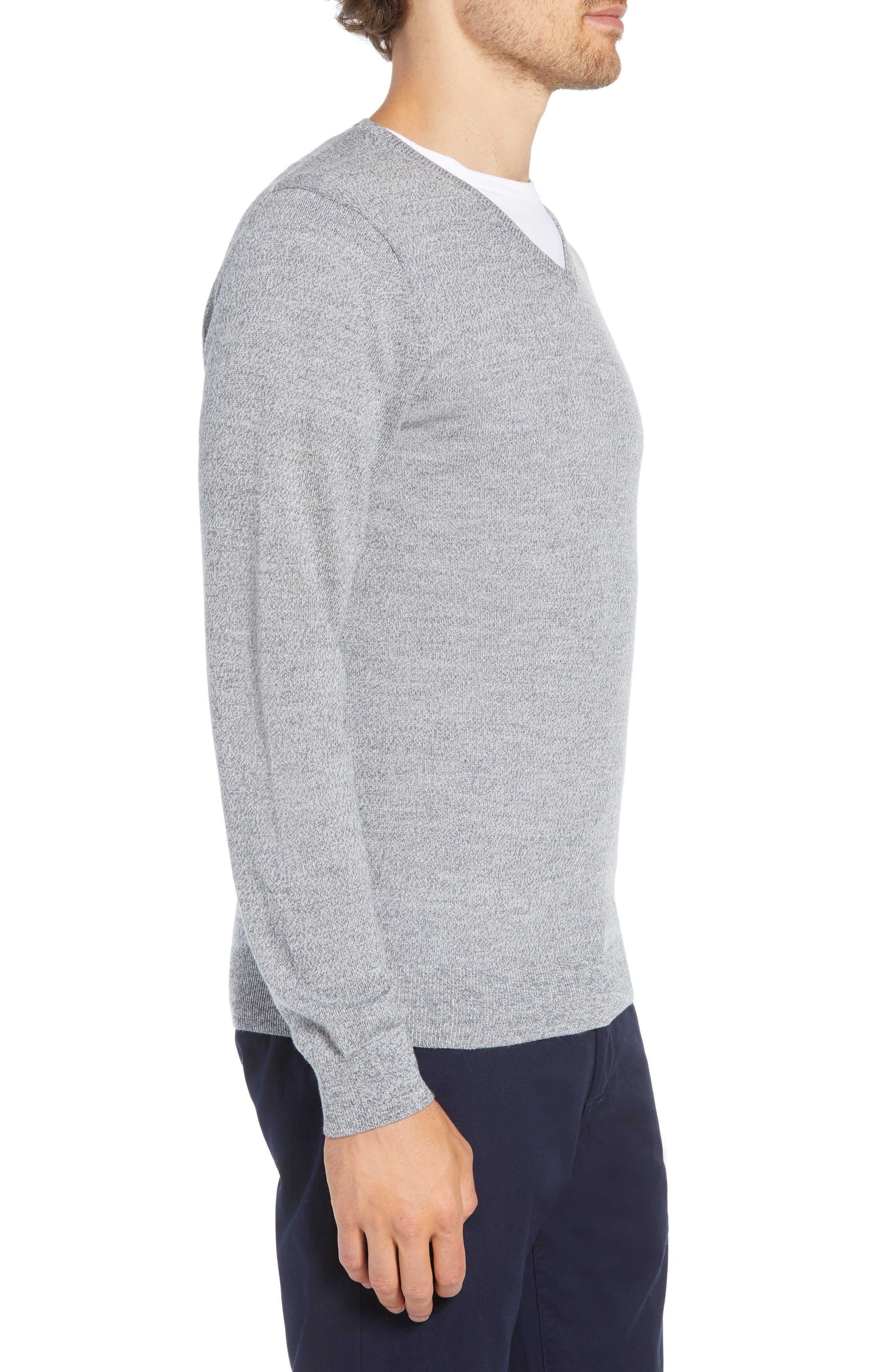 Slim Fit V-Neck Merino Wool Sweater,                             Alternate thumbnail 3, color,                             020