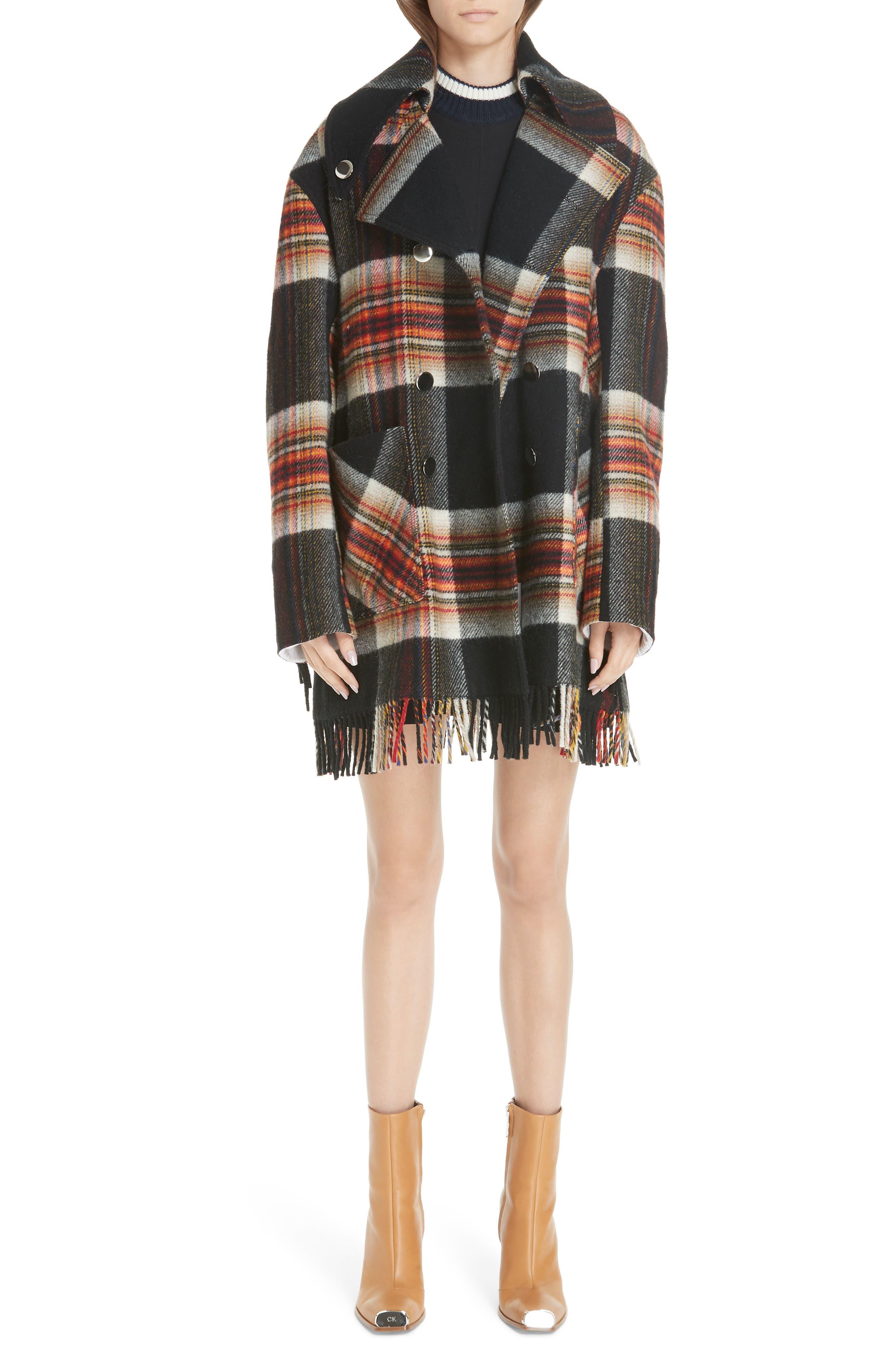 x Pendleton Fringe Plaid Blanket Coat,                         Main,                         color, 001