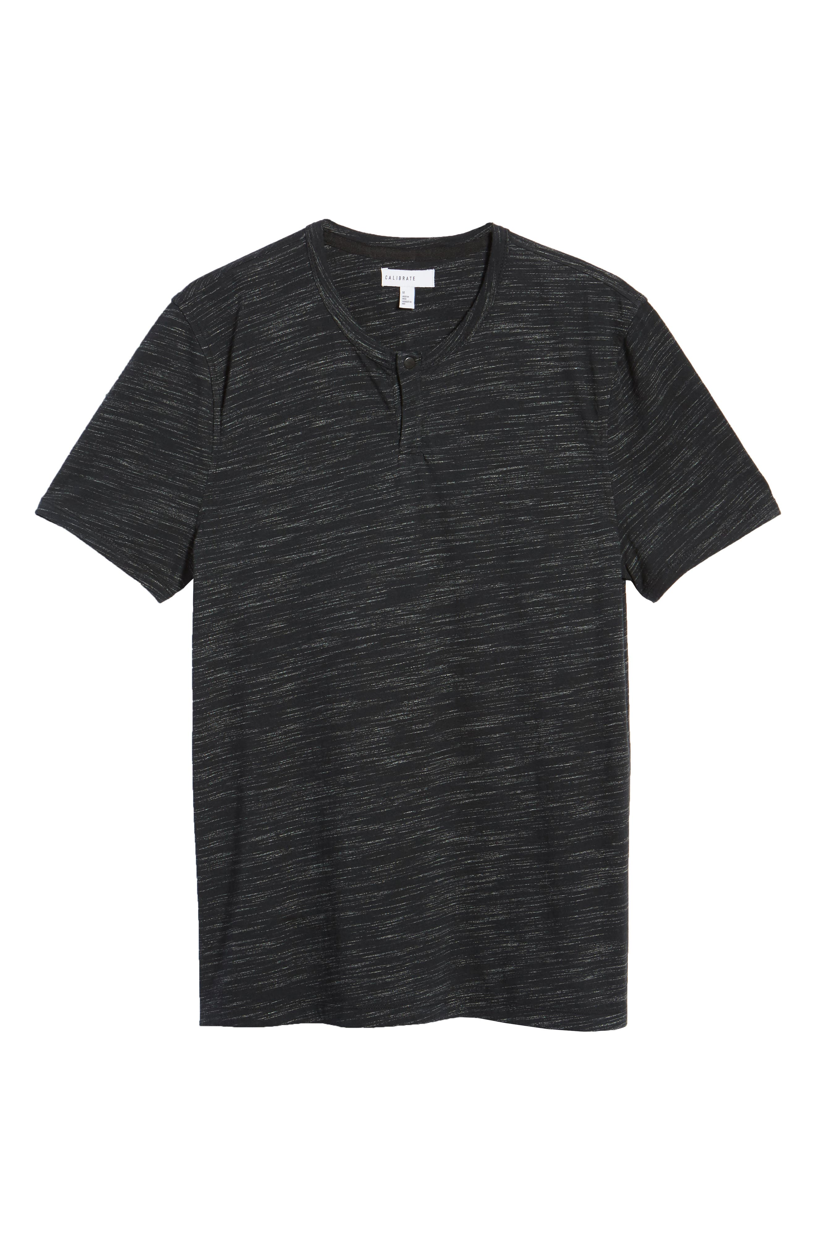 Space Dyed One-Button Henley T-Shirt,                             Alternate thumbnail 6, color,                             001
