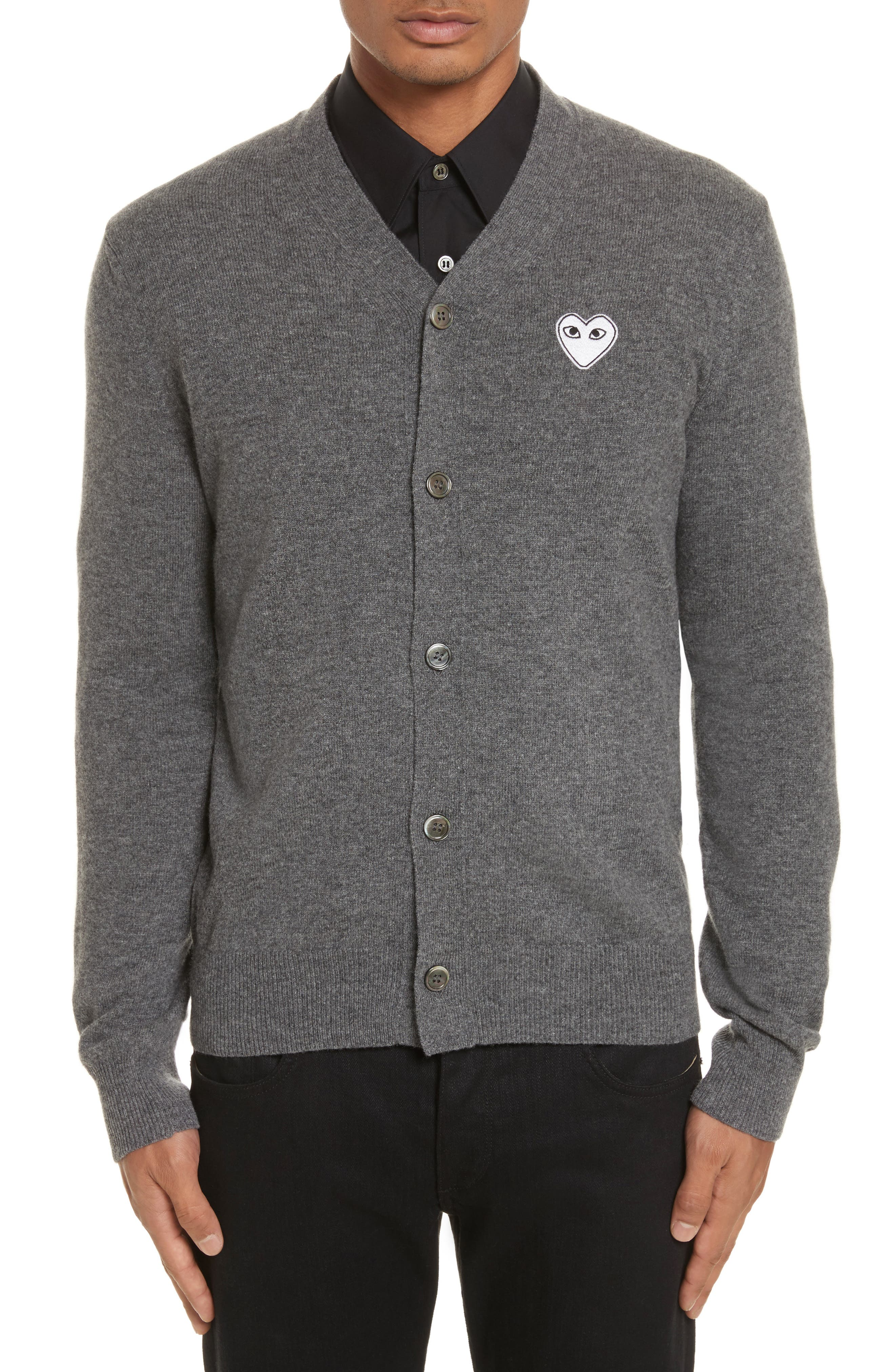 COMME DES GARÇONS PLAY,                             White Heart Wool Cardigan,                             Main thumbnail 1, color,                             GREY