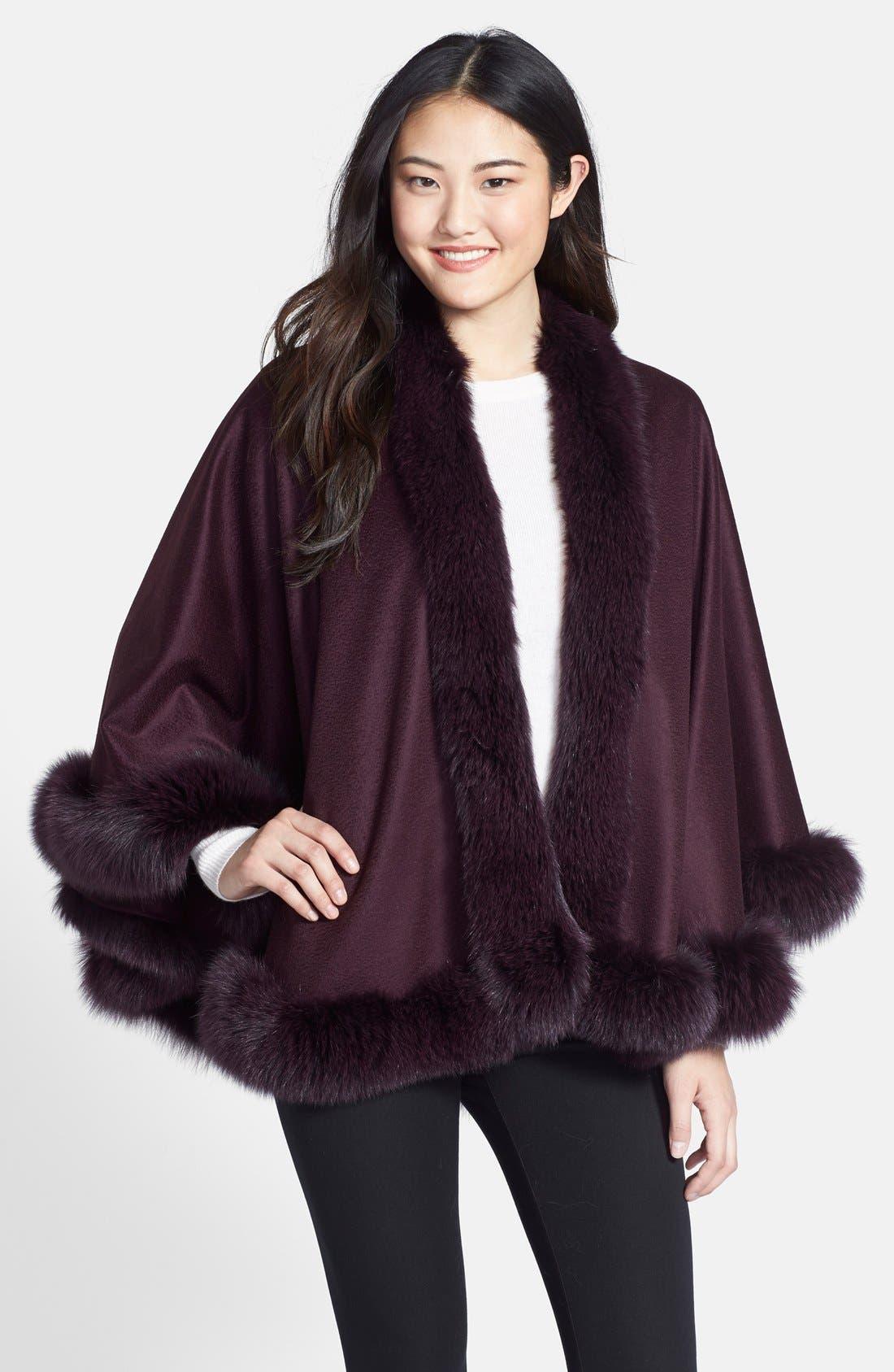 Genuine Fox Fur Trim Short Cashmere Cape,                             Main thumbnail 4, color,