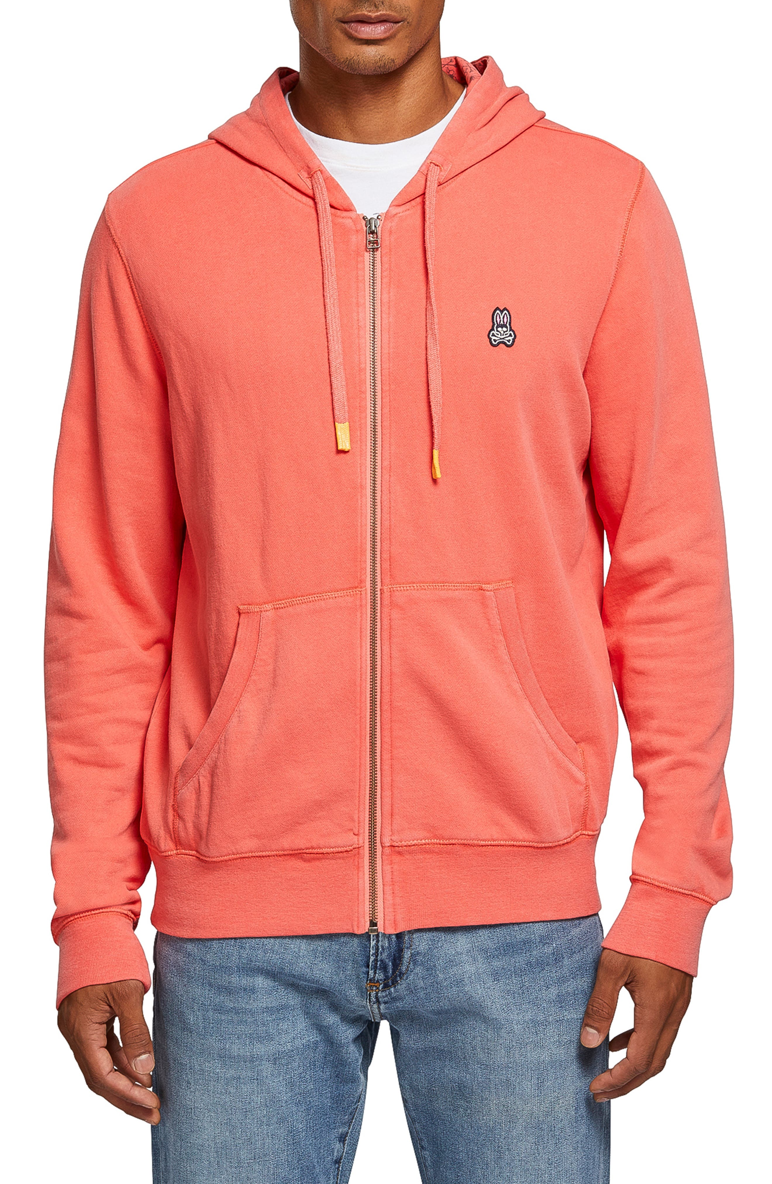 PSYCHO BUNNY Fingle French Terry Hoodie in Campari