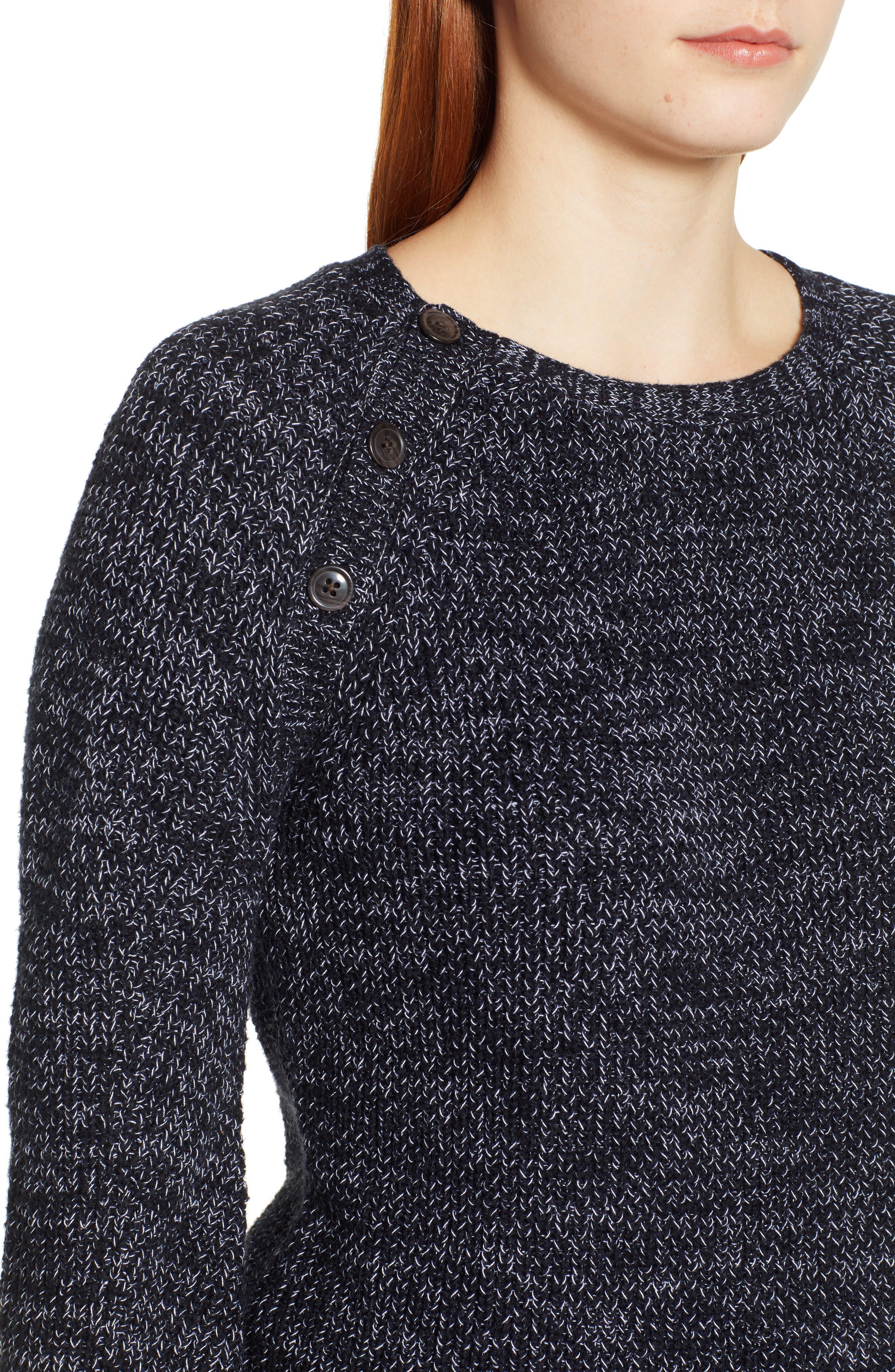 Raglan Sleeve Sweater,                             Alternate thumbnail 4, color,                             BLACK CREW MARL