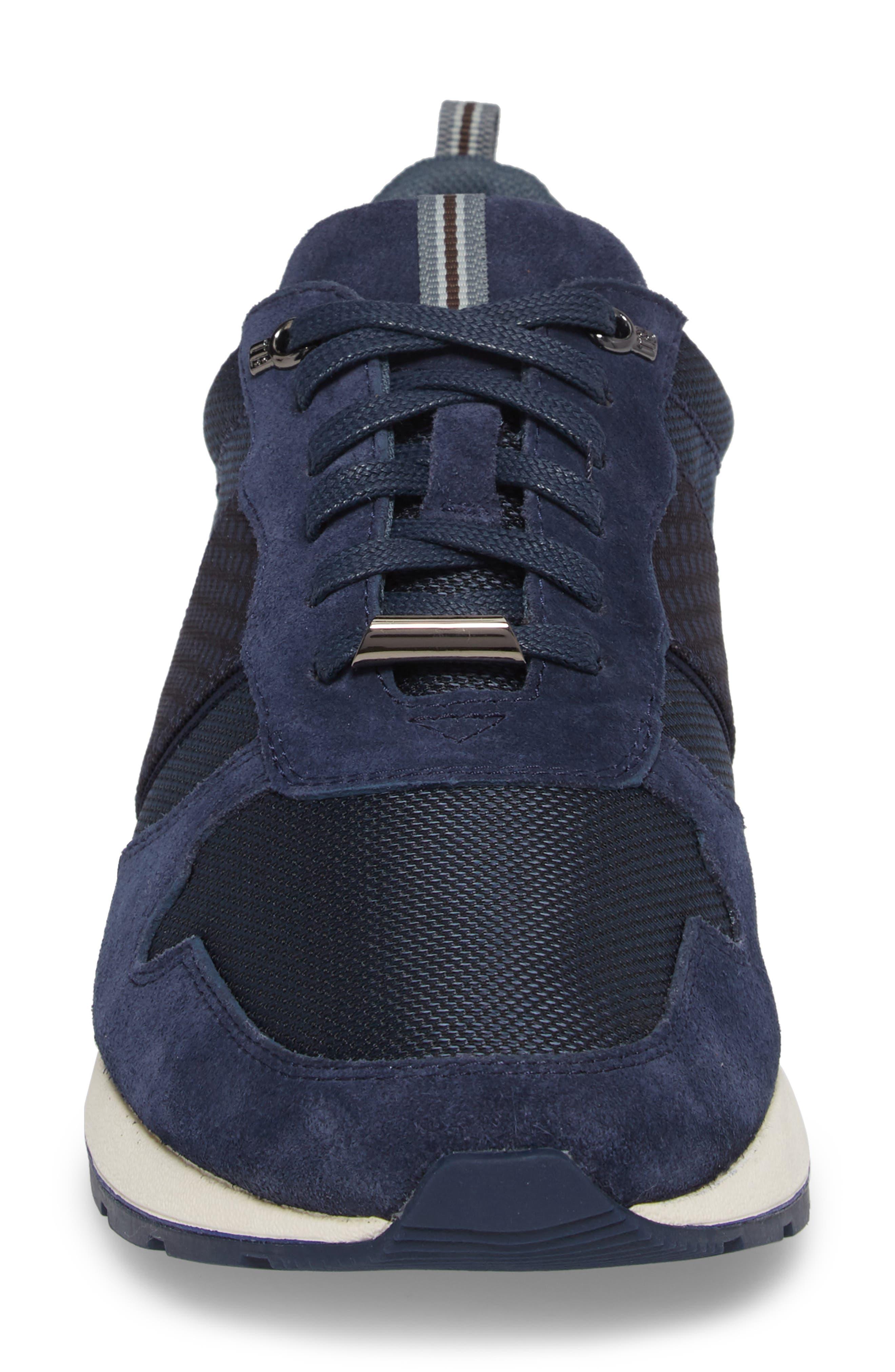 Hebey Lace-Up Sneaker,                             Alternate thumbnail 4, color,                             DARK BLUE TEXTILE