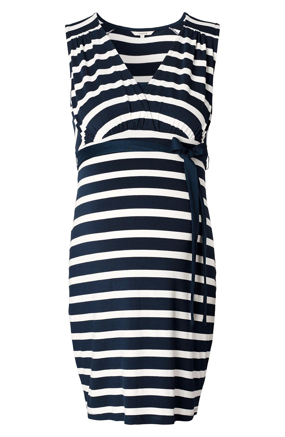 'Lara' Stripe Maternity Dress,                             Main thumbnail 1, color,                             DARK BLUE
