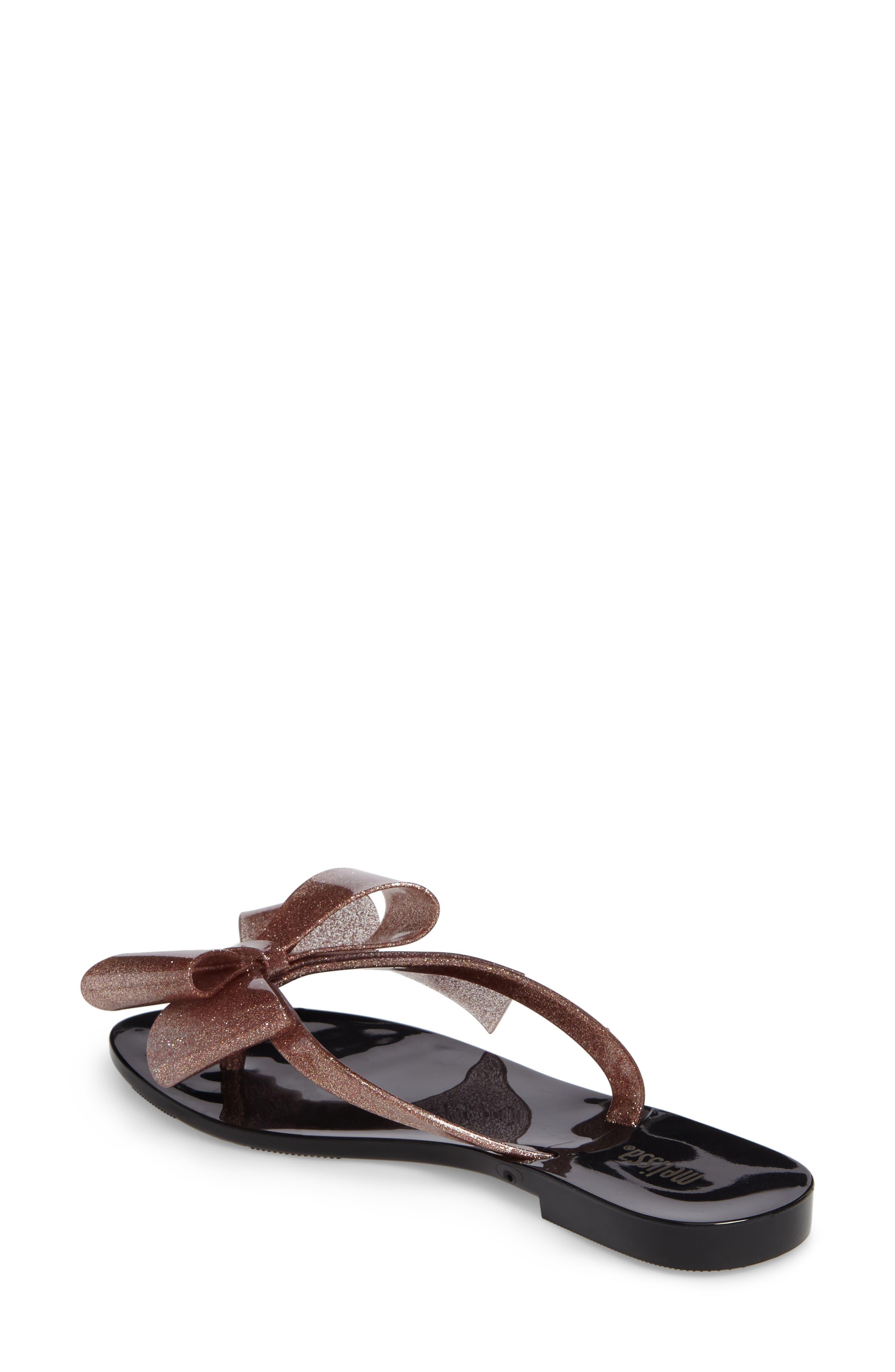 MELISSA,                             Harmonic Bow III Flip Flop,                             Alternate thumbnail 2, color,                             BLACK ROSE GLITTER