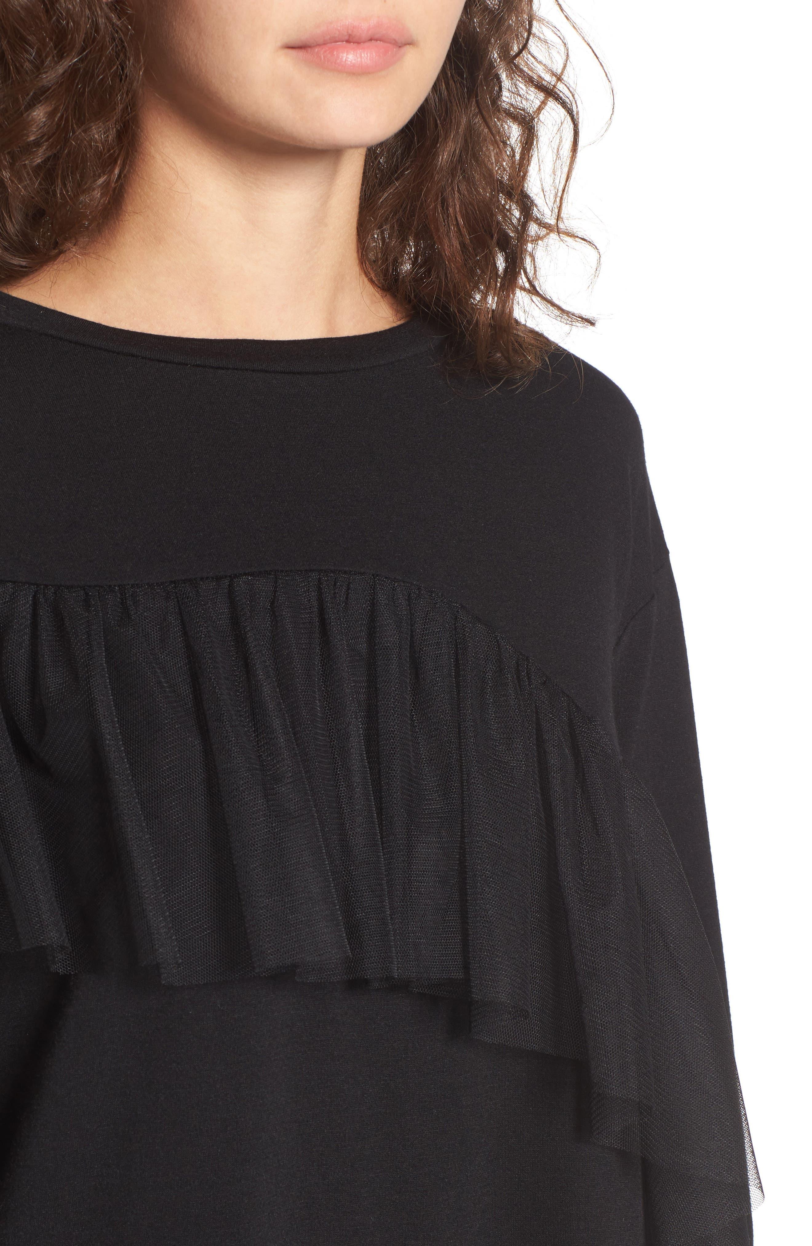Tulle Ruffle Sweatshirt Dress,                             Alternate thumbnail 4, color,                             001