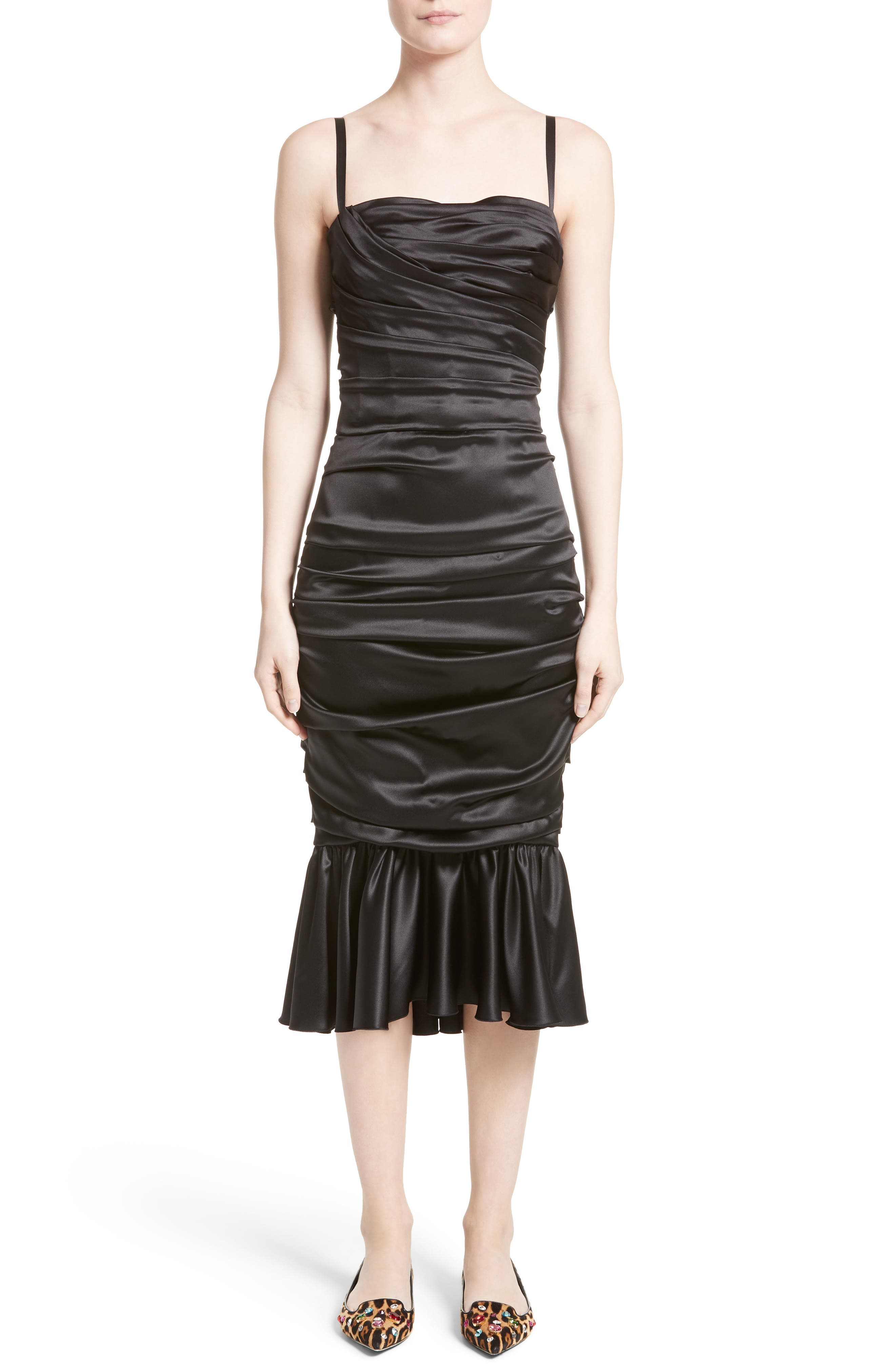 Ruched Stretch Satin Dress,                             Main thumbnail 1, color,                             001